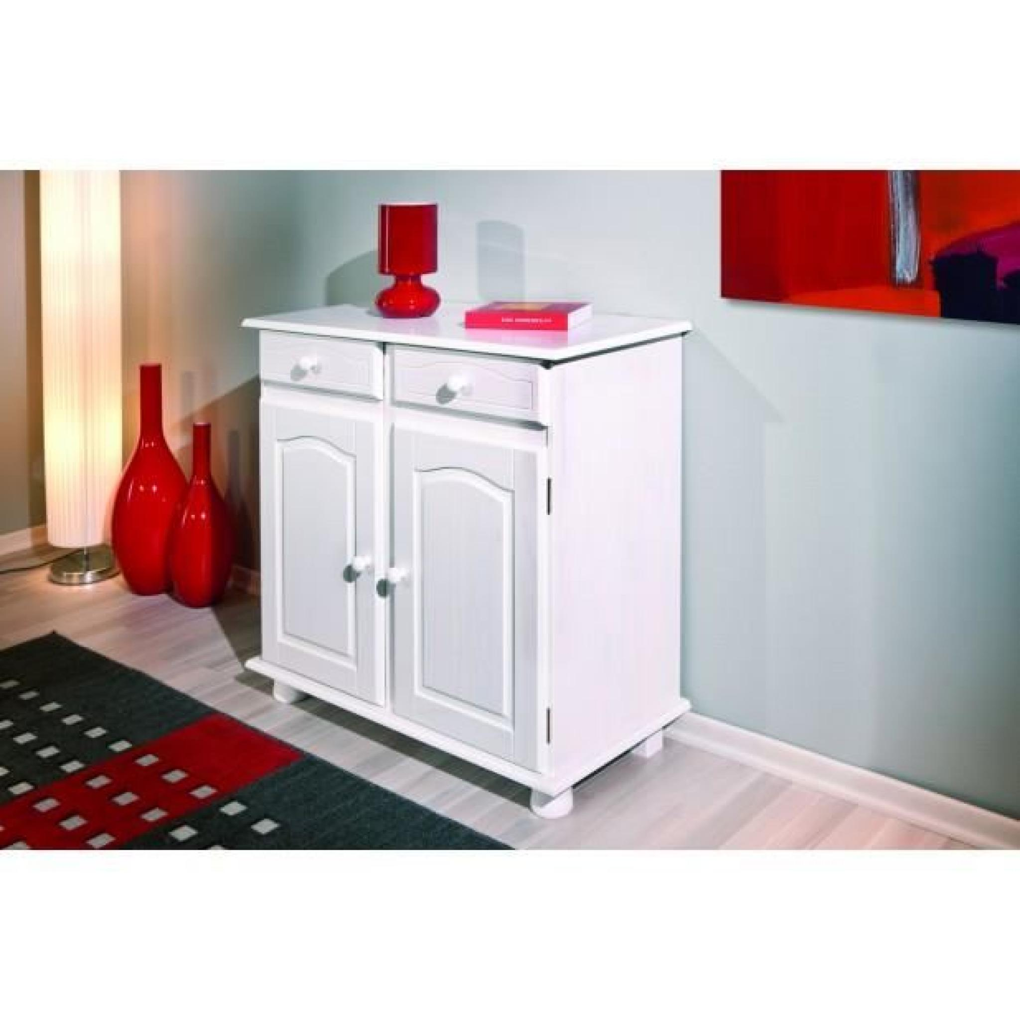 bahut bas 2 portes pin massif teint blanc achat vente buffet pas cher couleur et. Black Bedroom Furniture Sets. Home Design Ideas