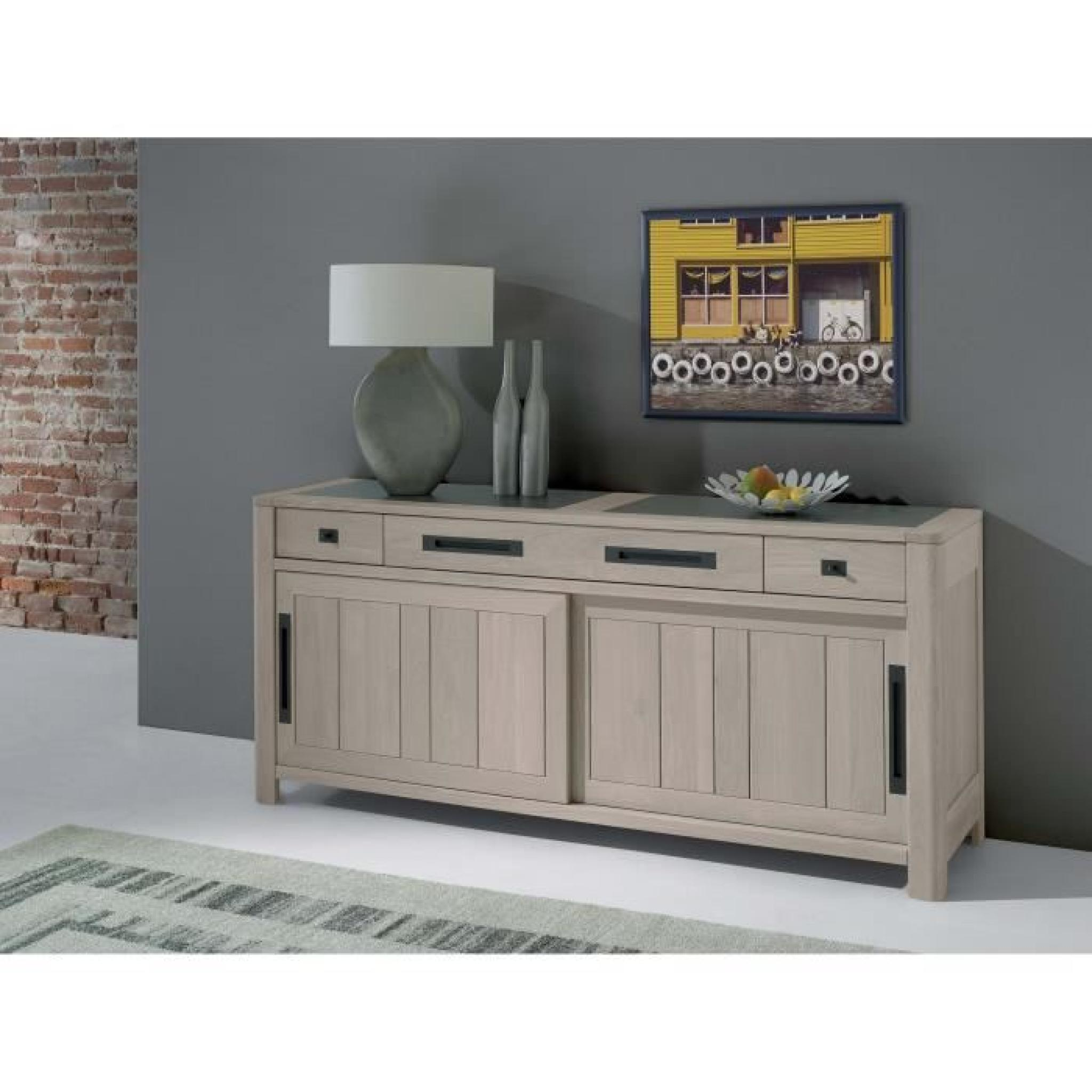 bahut denver 220cm chene ceramique achat vente buffet pas cher couleur et. Black Bedroom Furniture Sets. Home Design Ideas