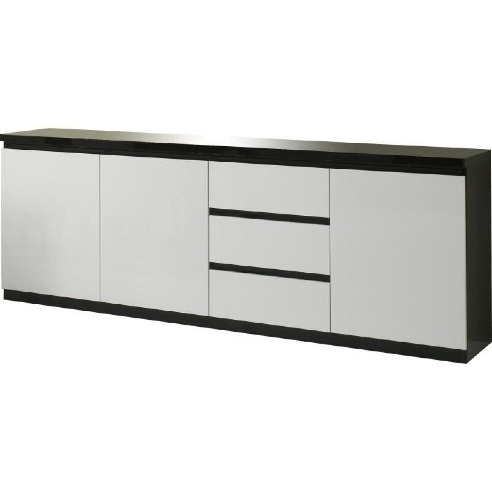 Bahut Design Noir Et Blanc Laqué à 3 Portes Et 3 Tiroirs