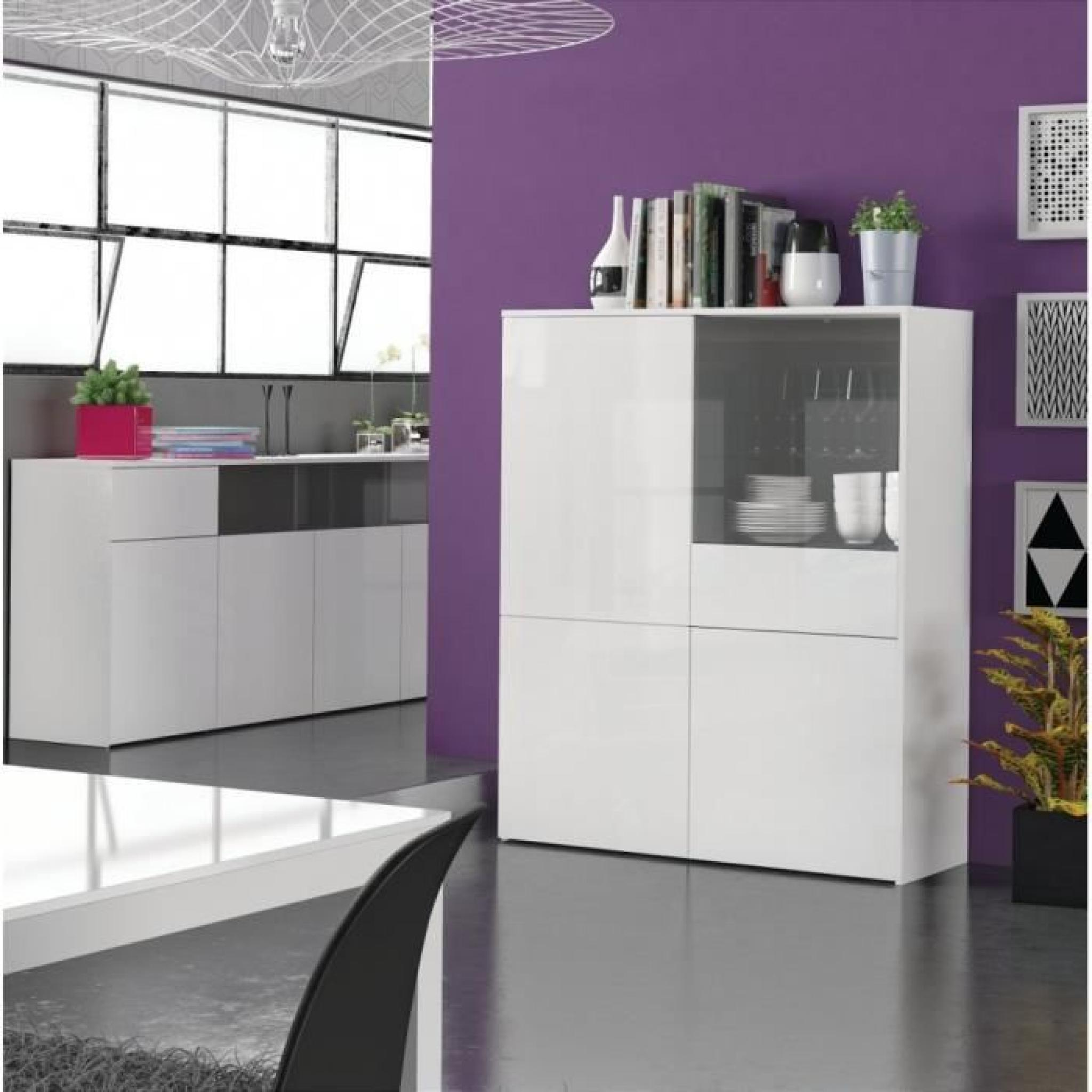 bahut haut blanc brillant malia achat vente buffet pas cher couleur et. Black Bedroom Furniture Sets. Home Design Ideas