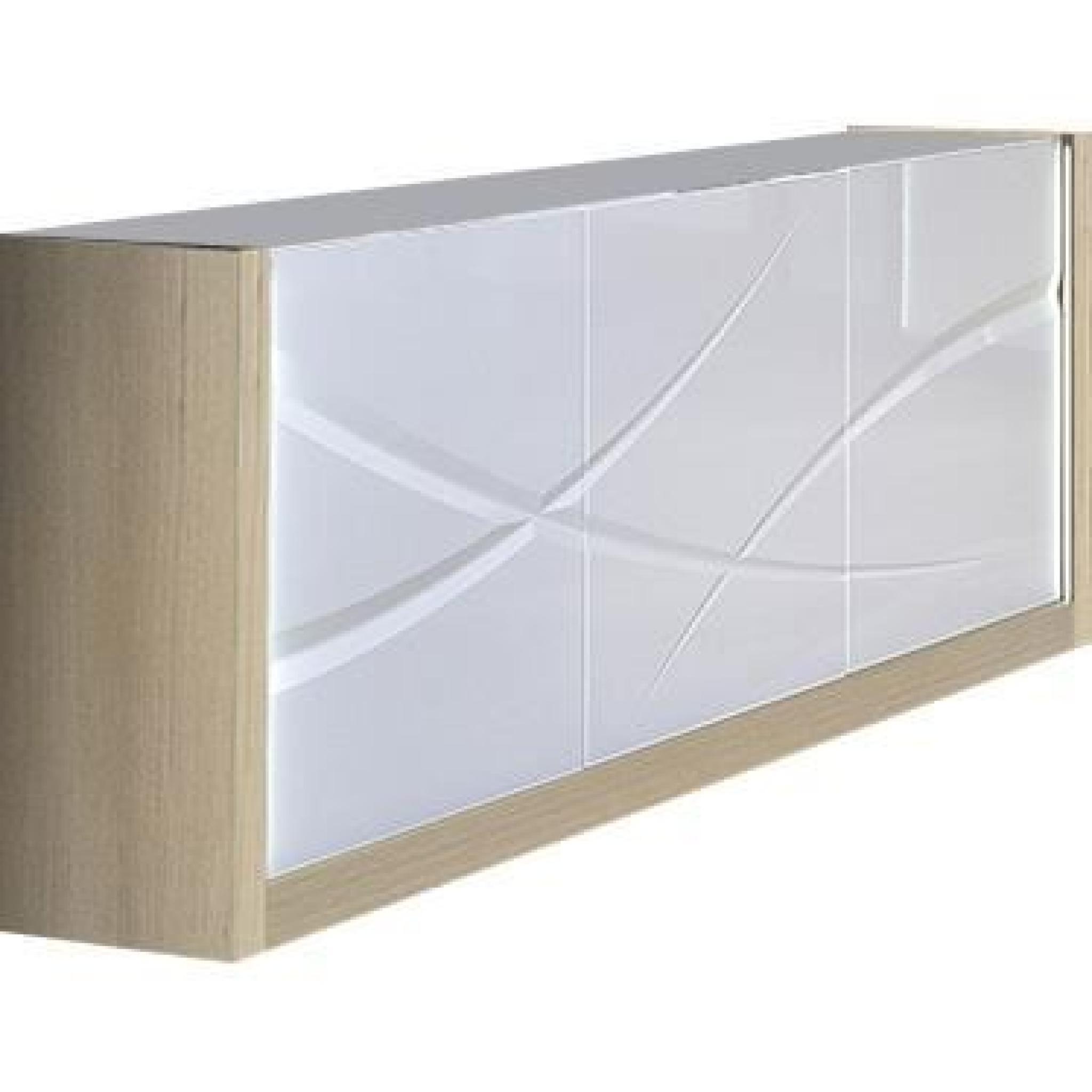 Bahut moderne 3 portes coloris blanc laqu et bois avec - Bahut blanc laque pas cher ...