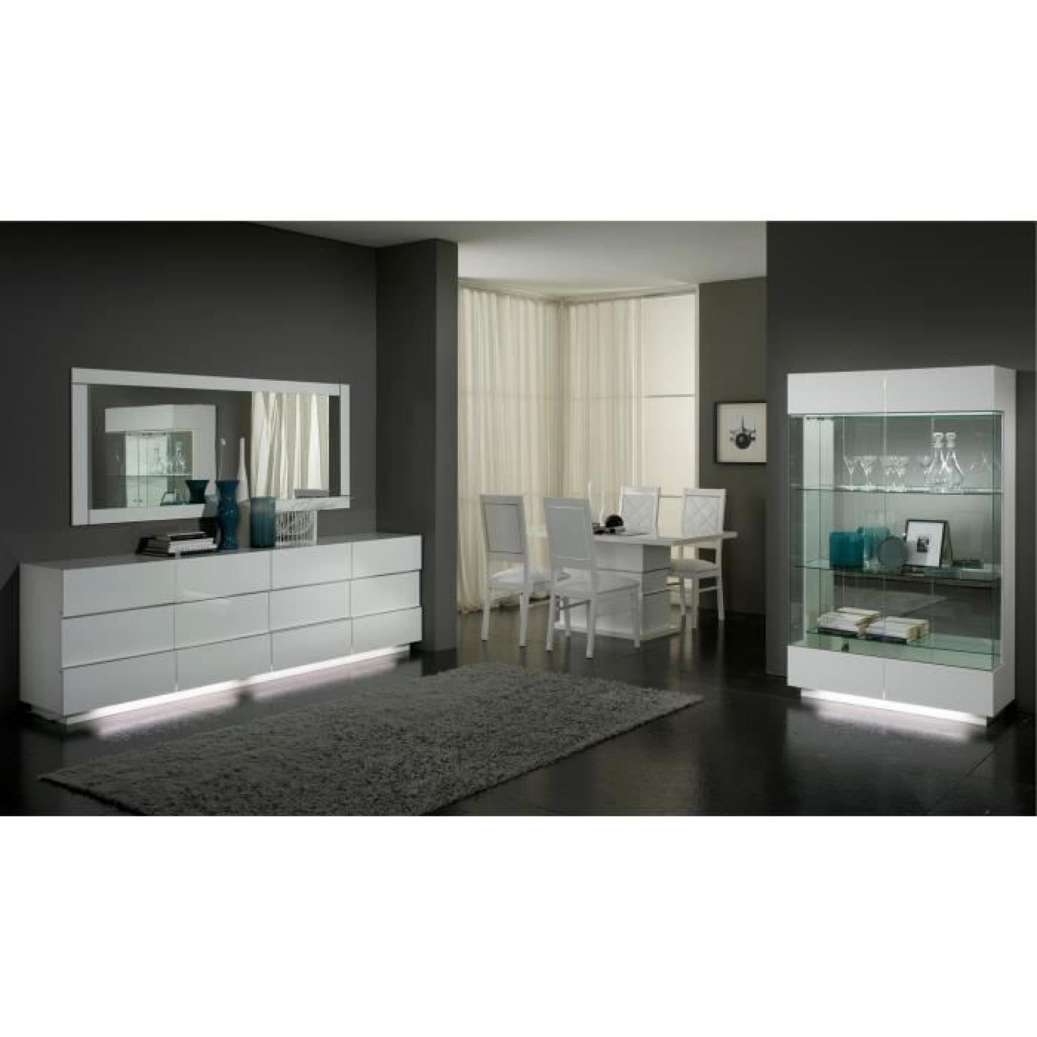 bahut moderne blanc laqu 3 portes et 3 tiroirs achat. Black Bedroom Furniture Sets. Home Design Ideas