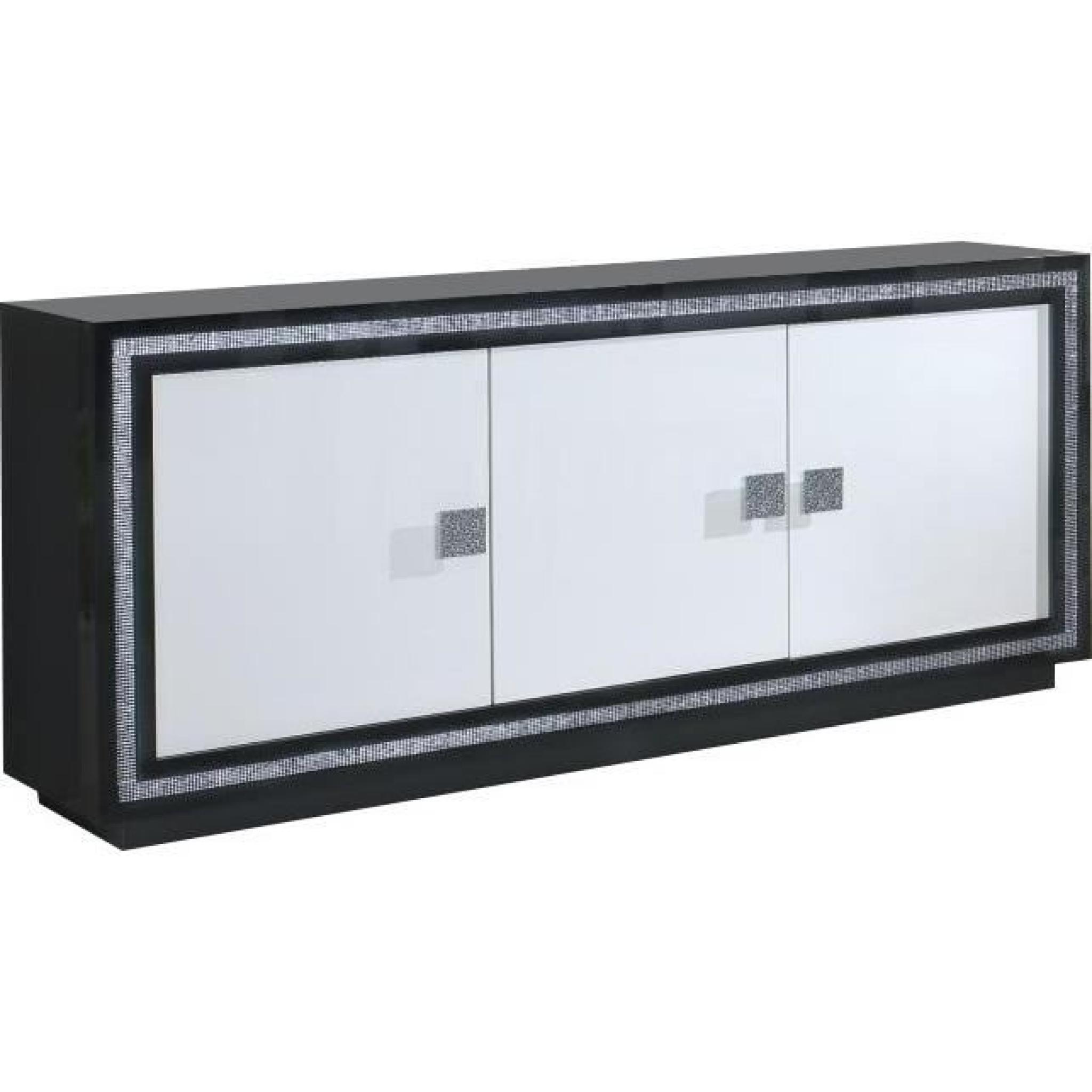 Bahut ultra design noir et blanc laqué avec strass - Achat/Vente ...