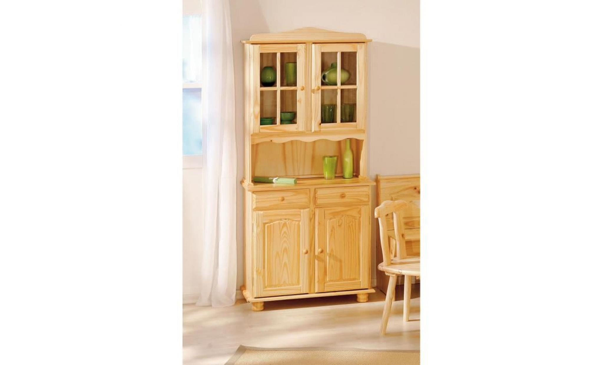bahut vaisselier rustique en bois massif vernis achat vente buffet pas cher couleur et. Black Bedroom Furniture Sets. Home Design Ideas