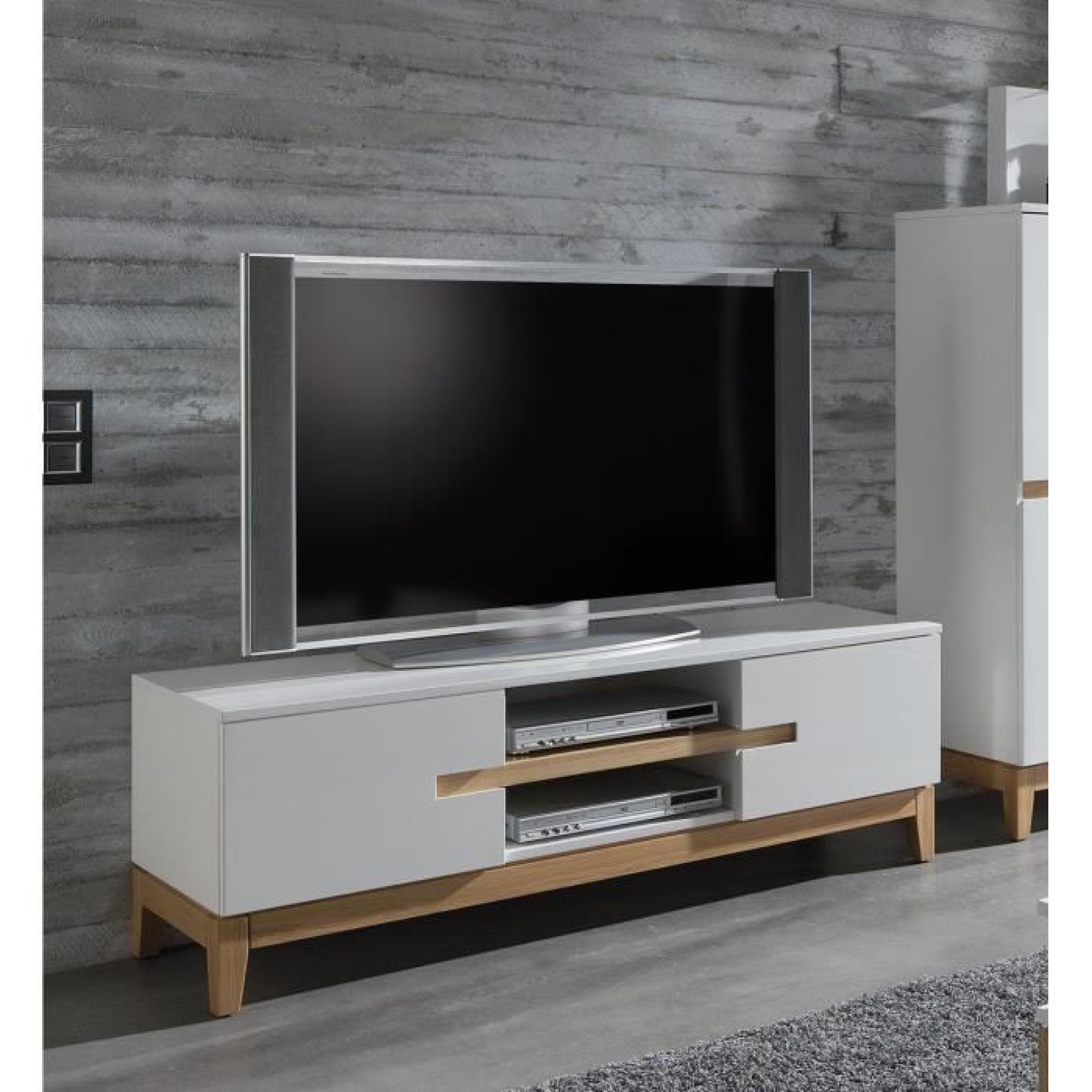 banc tv design paolo atylia couleur ch ne blanc achat vente meuble tv pas cher couleur et. Black Bedroom Furniture Sets. Home Design Ideas