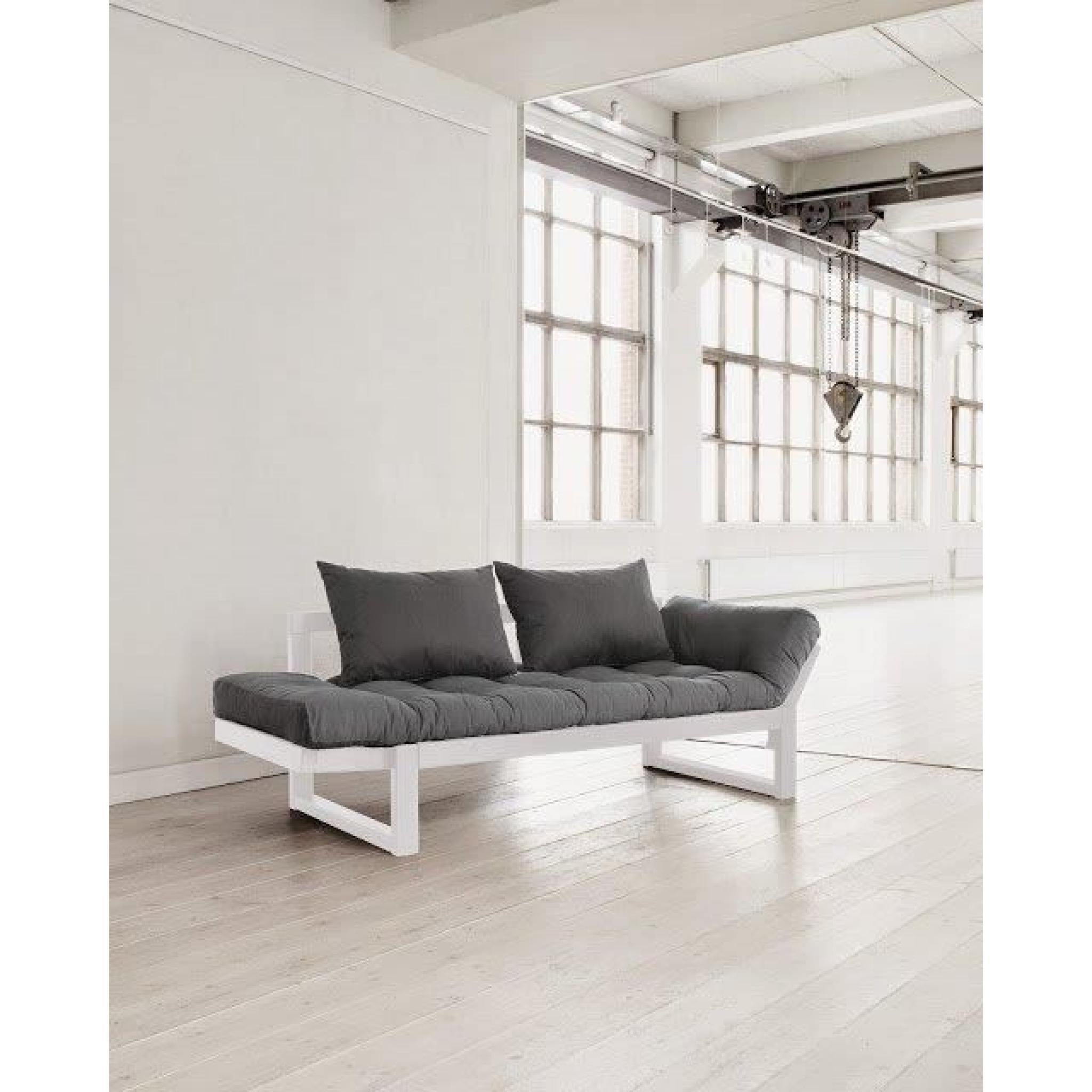 banquette m ridienne blanche futon gris edge couchage 75 200cm achat vente futon pas cher. Black Bedroom Furniture Sets. Home Design Ideas