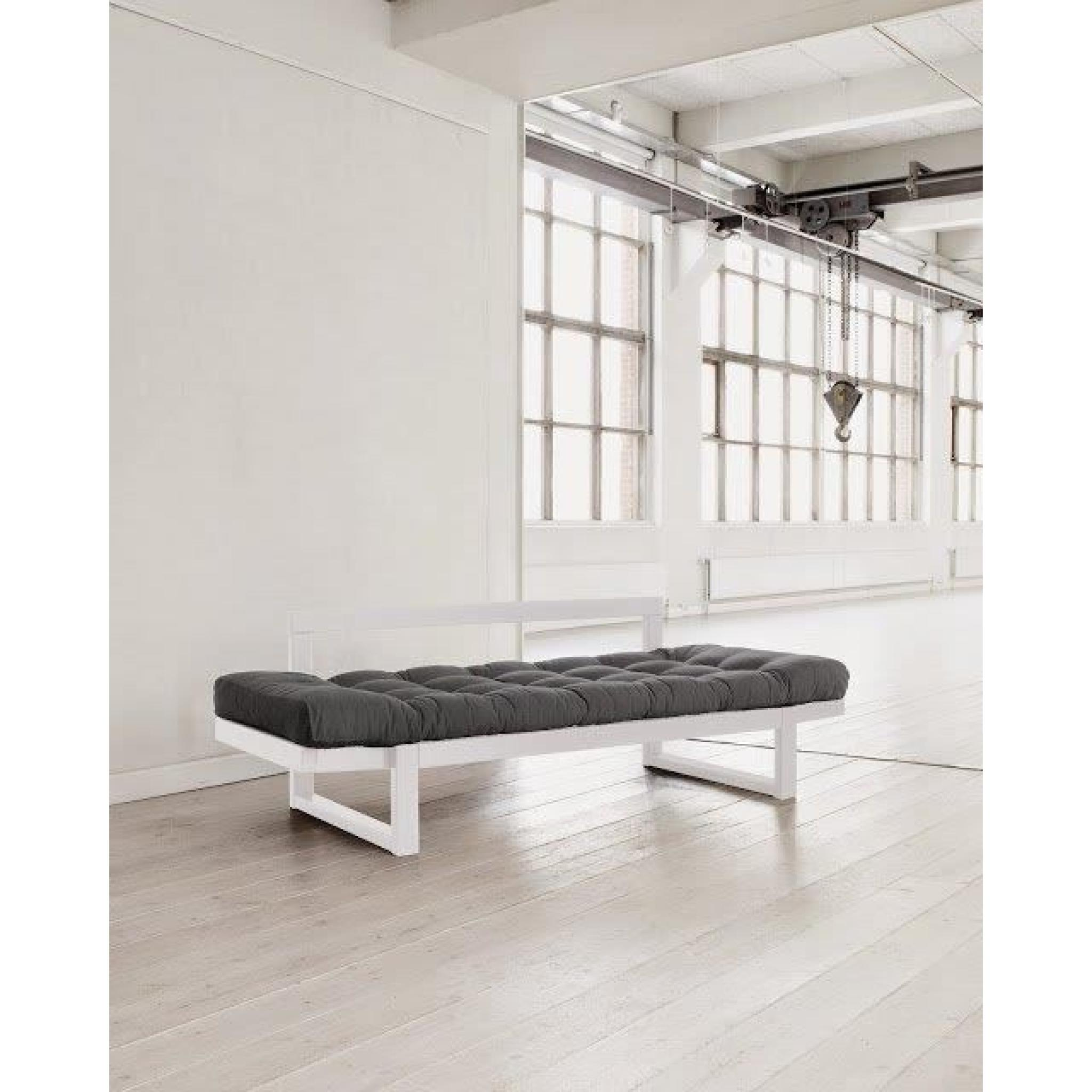 Banquette m ridienne blanche futon gris edge couchage 75 for Banquette meridienne design