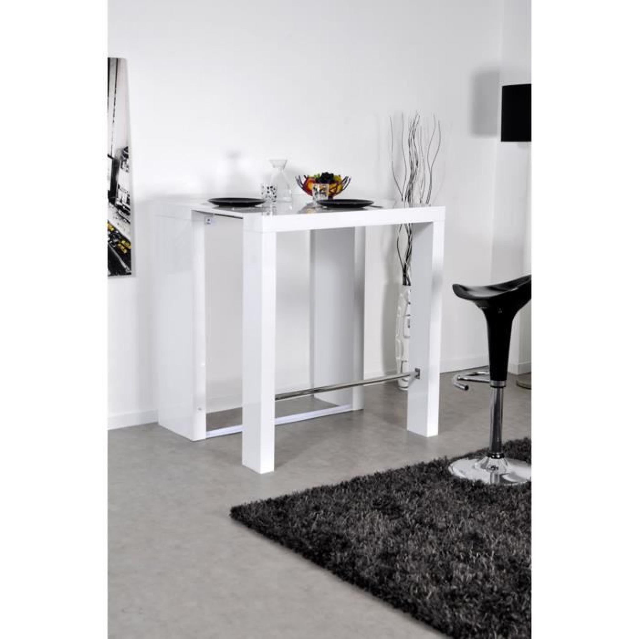 Bar console table haute extensible 2 rallonges venise for Table a manger extensible blanc laque