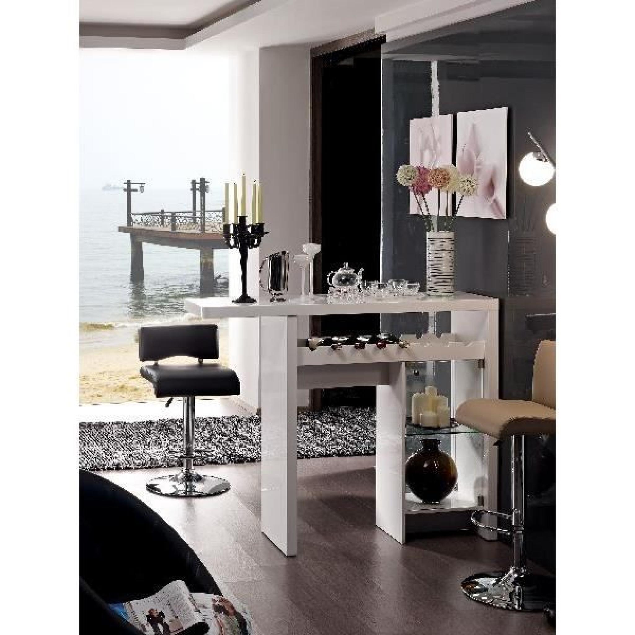 Bar table design blanc laqu sanne meuble salon achat for Salon salle a manger pas cher