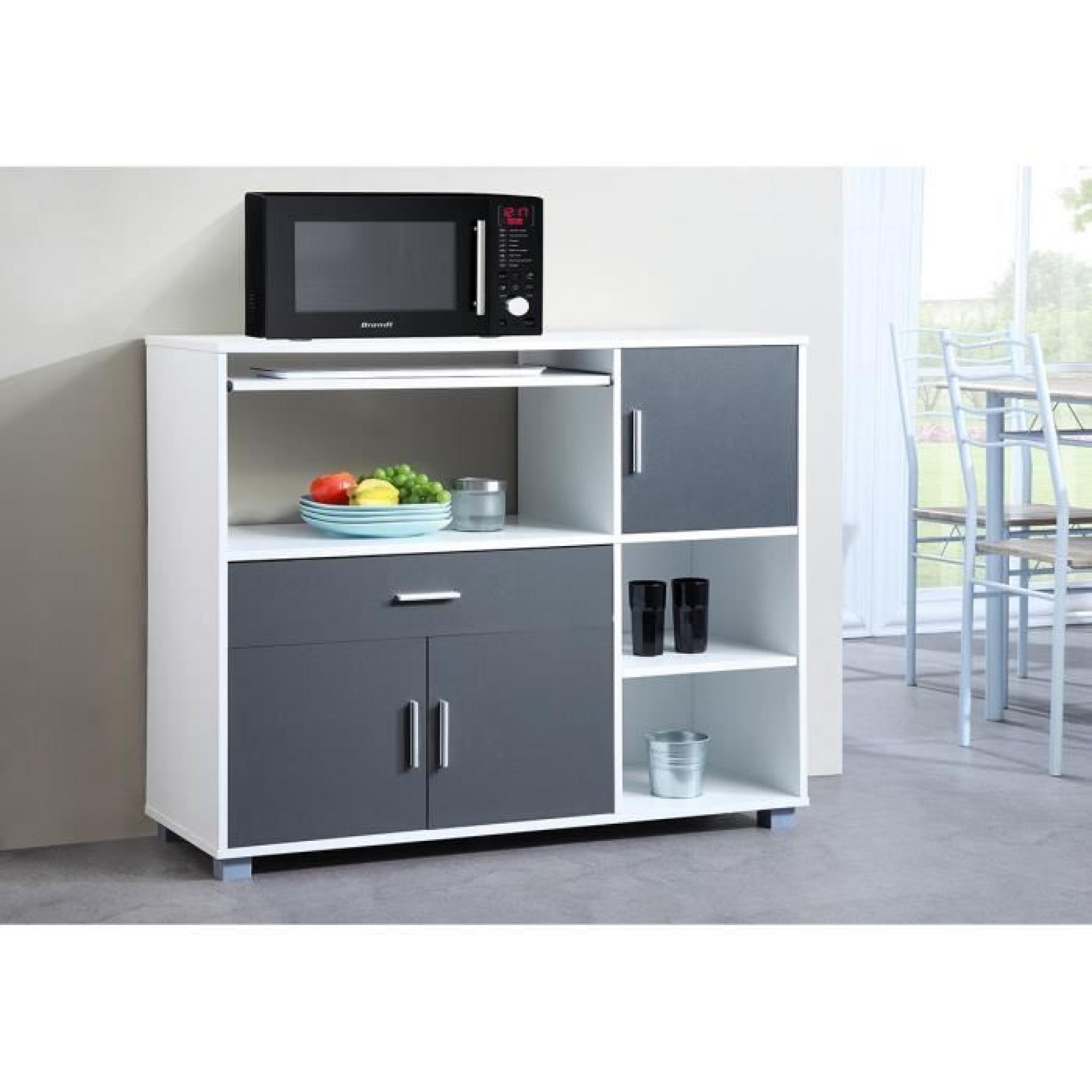 bari buffet de cuisine 110 cm blanc et gris achat. Black Bedroom Furniture Sets. Home Design Ideas