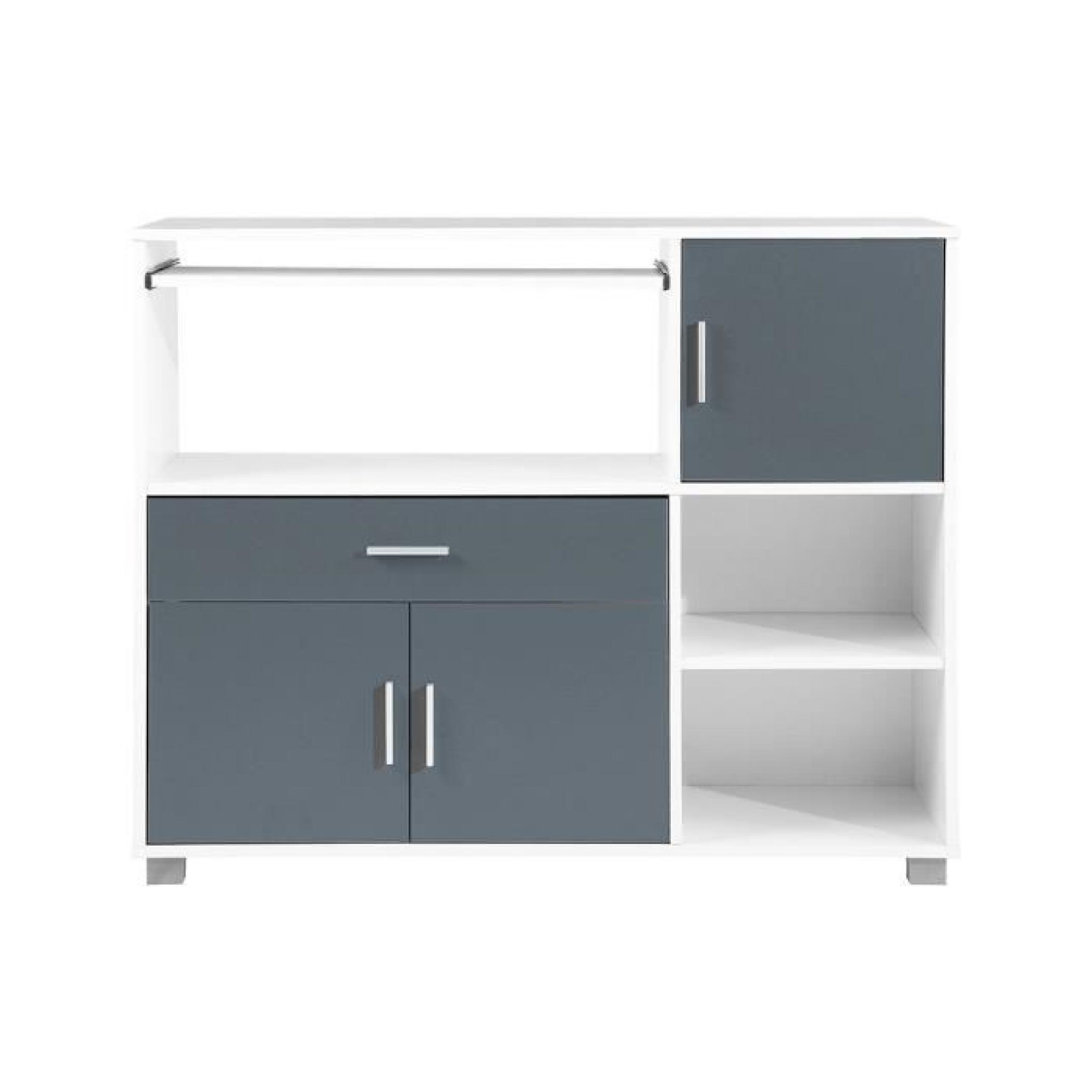 Bari buffet de cuisine 110 cm blanc et gris achat for Buffet bas de cuisine pas cher