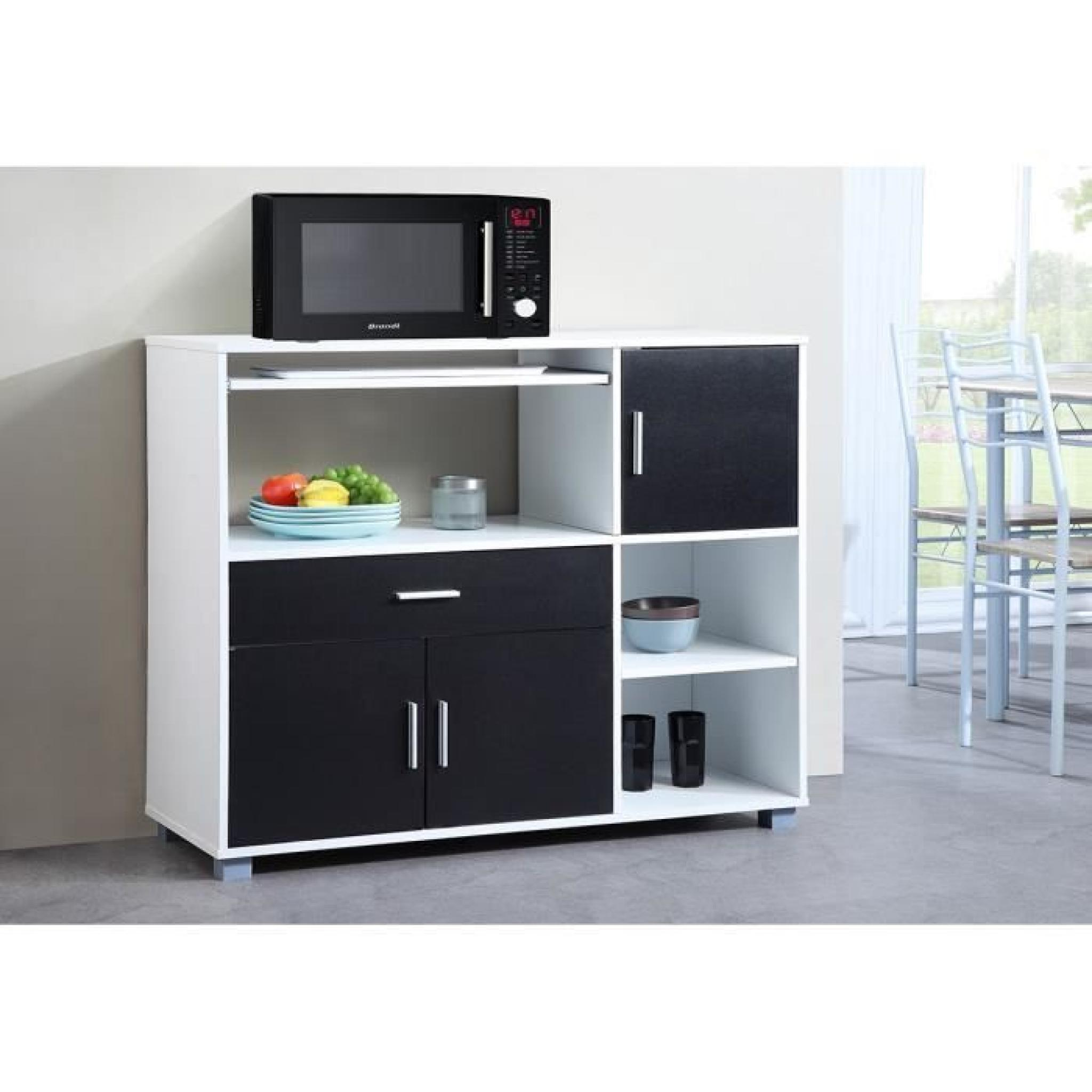 bari buffet de cuisine 110 cm blanc et noir achat vente buffet de cuisine pas cher couleur. Black Bedroom Furniture Sets. Home Design Ideas