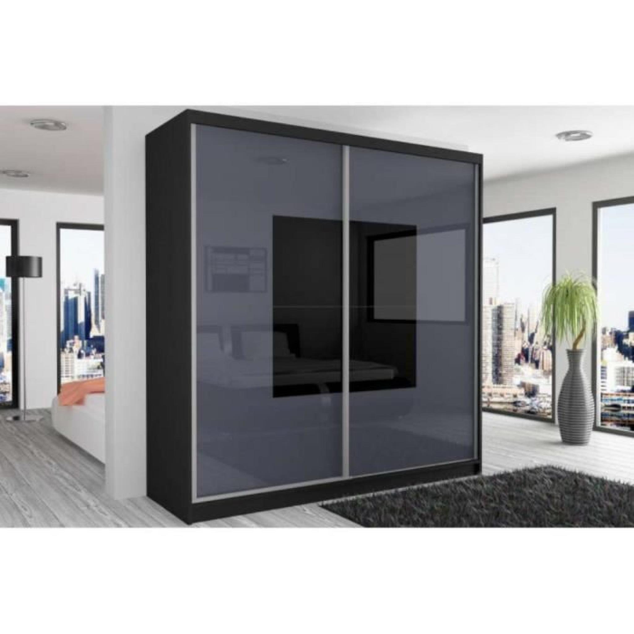 beauty 3 armoire 218 200 60 couleur noir mat acier noir. Black Bedroom Furniture Sets. Home Design Ideas