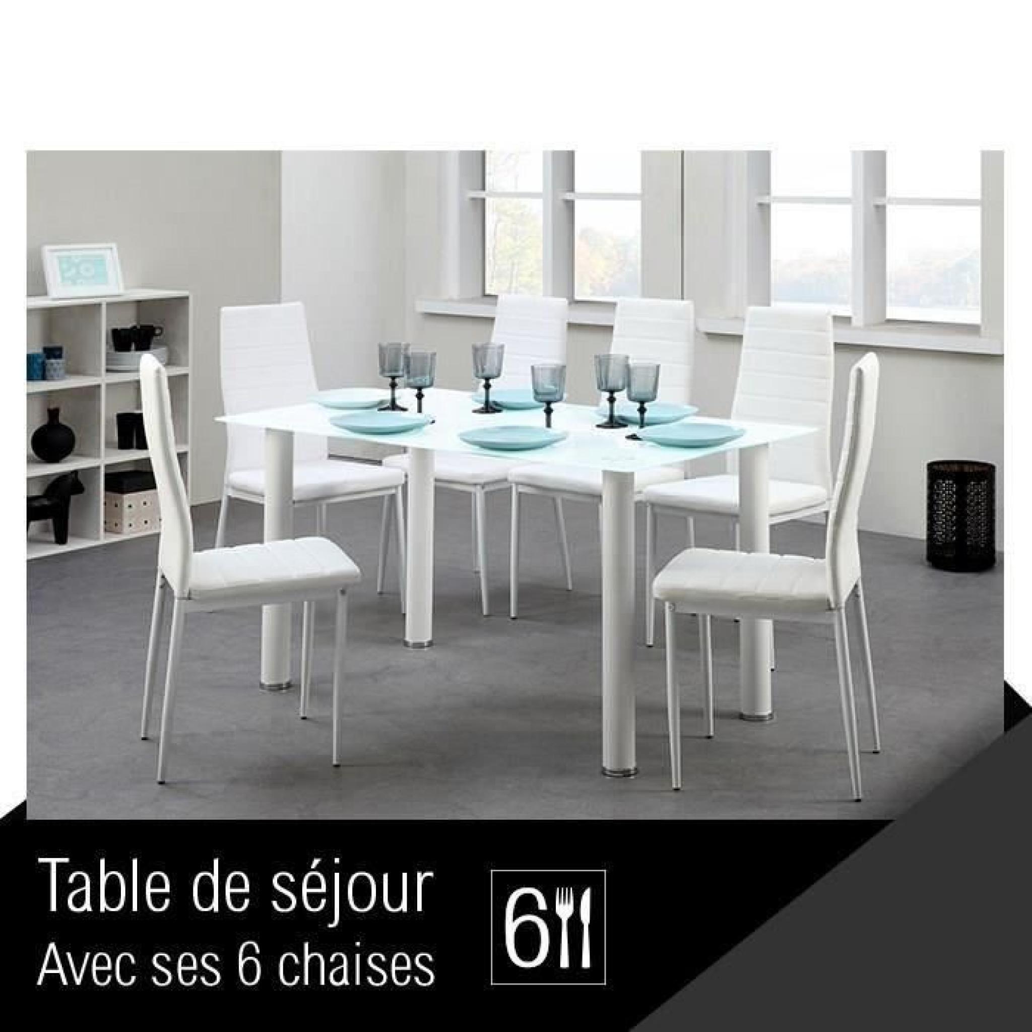 Belair Ensemble Repas Coloris Blanc 7 Pieces 1 Table A Manger 6