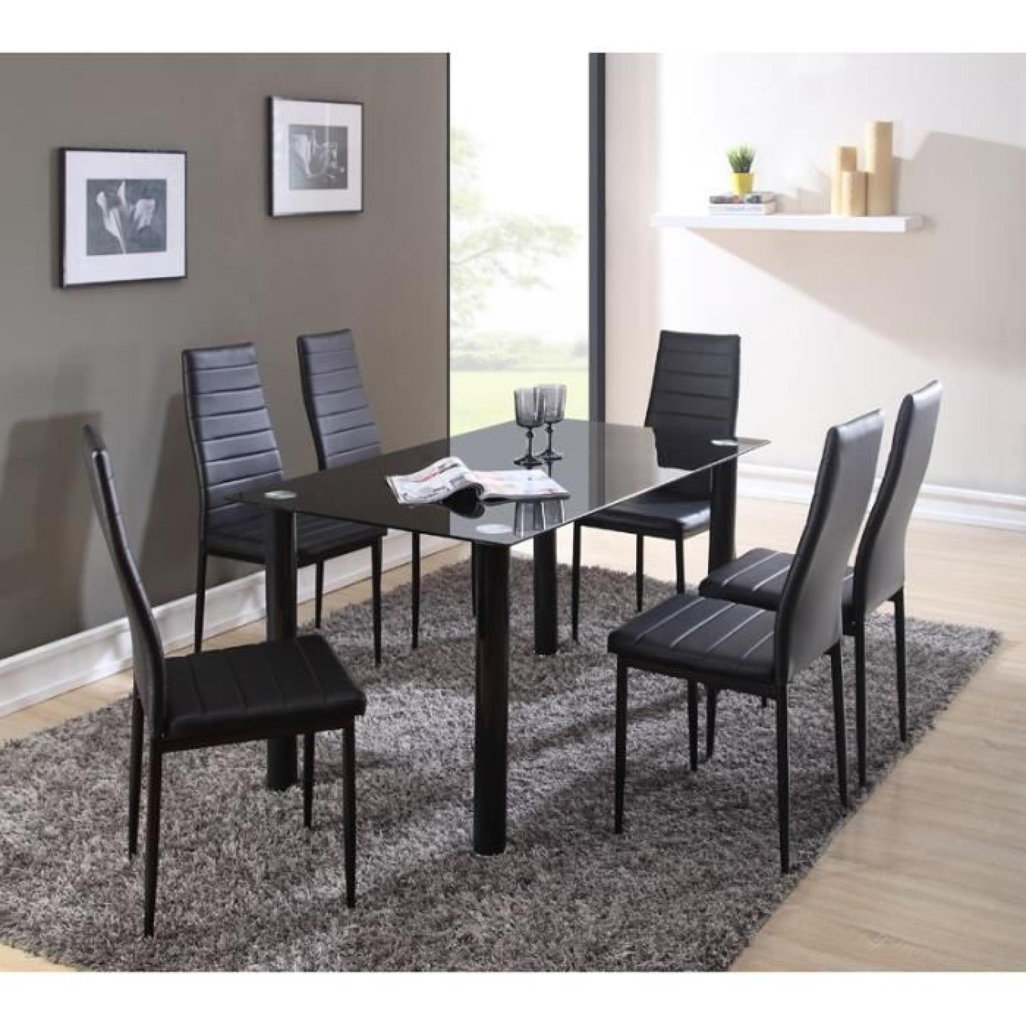 belair ensemble repas coloris noir 7 pi ces 1 table manger 6 chaises achat vente table. Black Bedroom Furniture Sets. Home Design Ideas