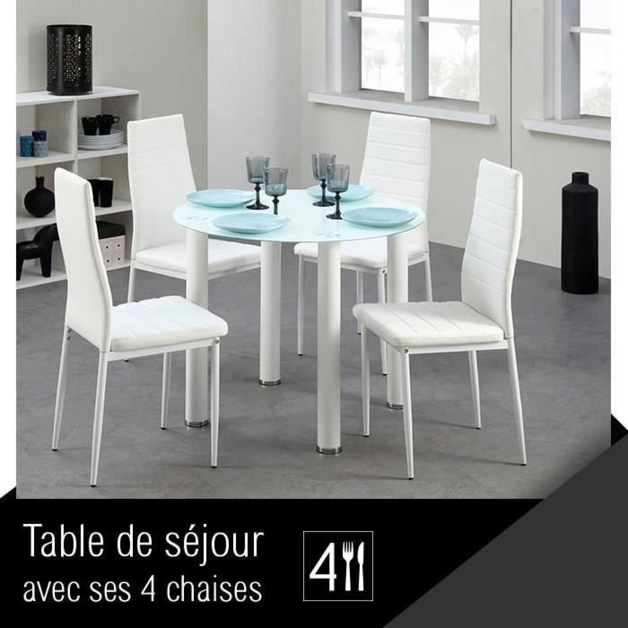 berenice ensemble repas coloris blanc 5 pi ces 1 table 4 chaises achat vente table salle a. Black Bedroom Furniture Sets. Home Design Ideas
