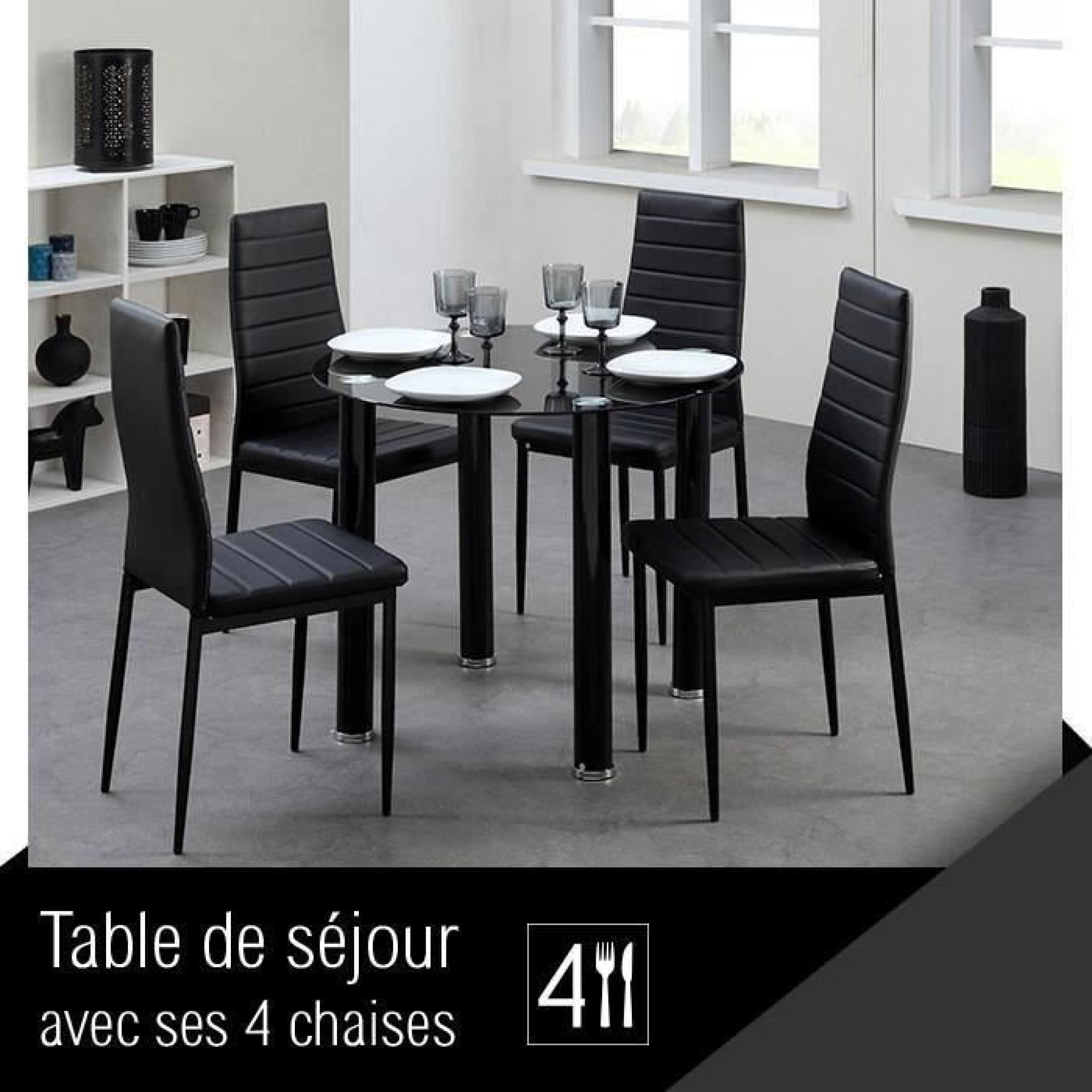 BERENICE Ensemble repas coloris noir 5 pièces 1 table à manger + 4 chaises