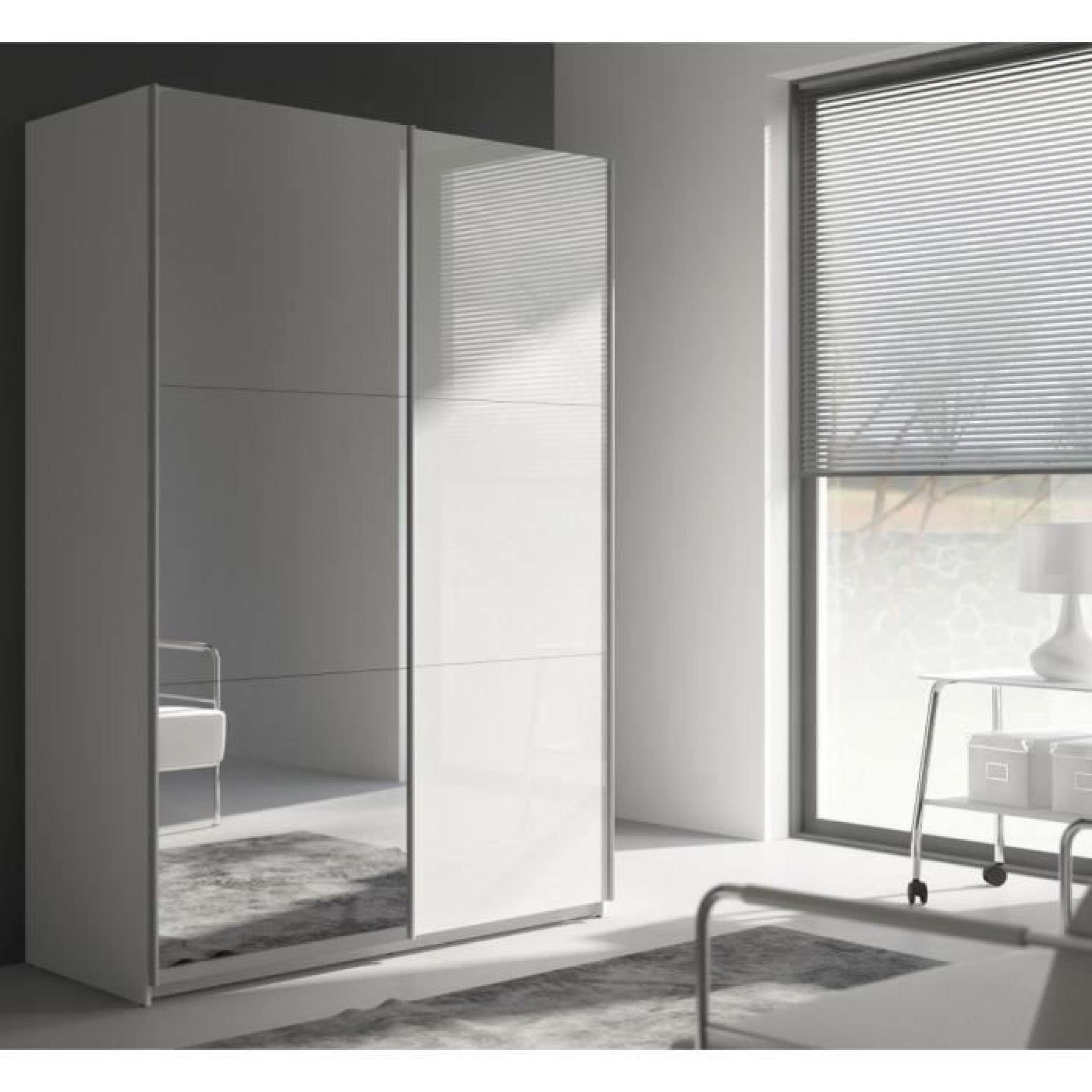 Best armoire 150 cm blanc brillant miroir achat for Miroir chambre pas cher