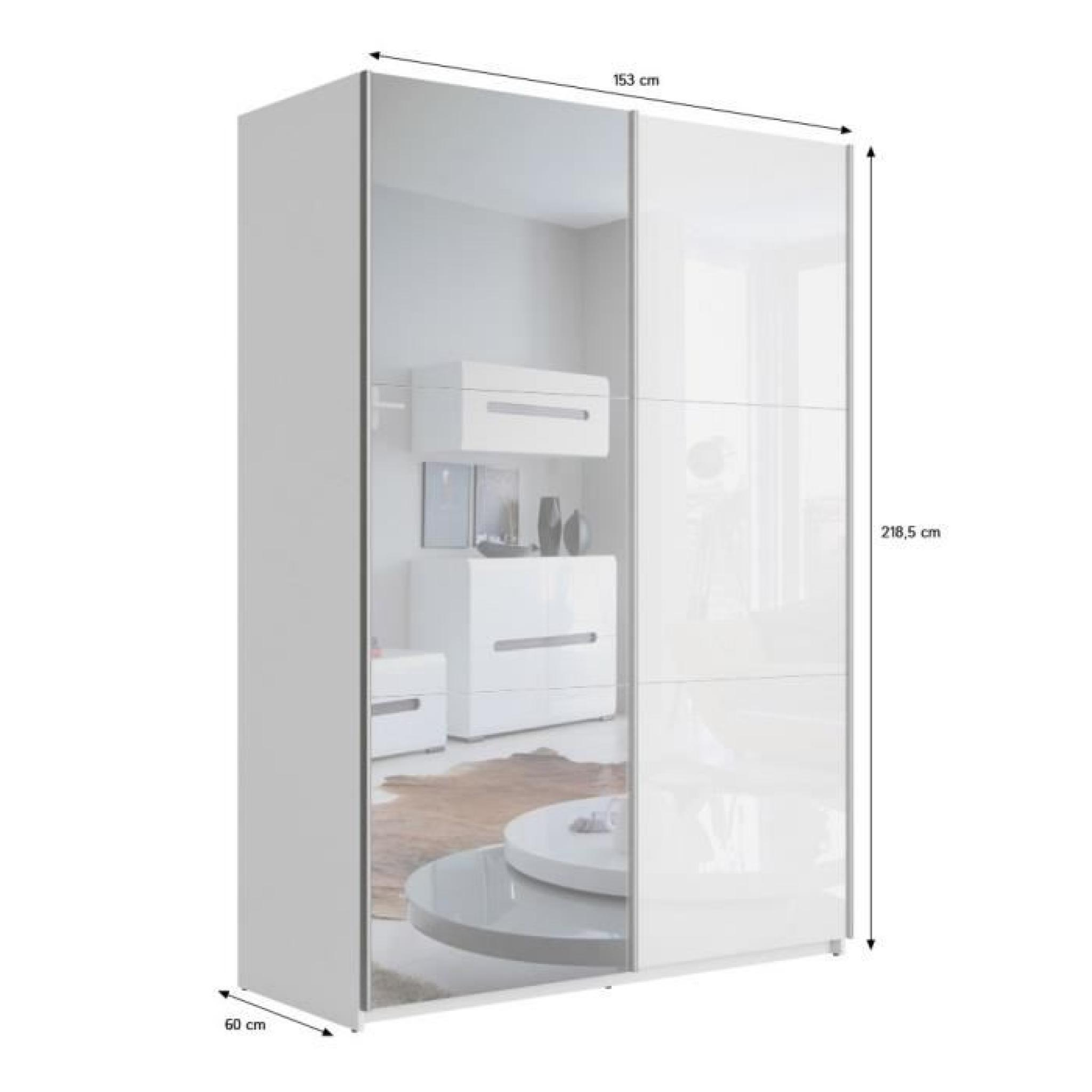 best armoire 150 cm blanc brillant miroir achat vente armoire de chambre pas cher. Black Bedroom Furniture Sets. Home Design Ideas