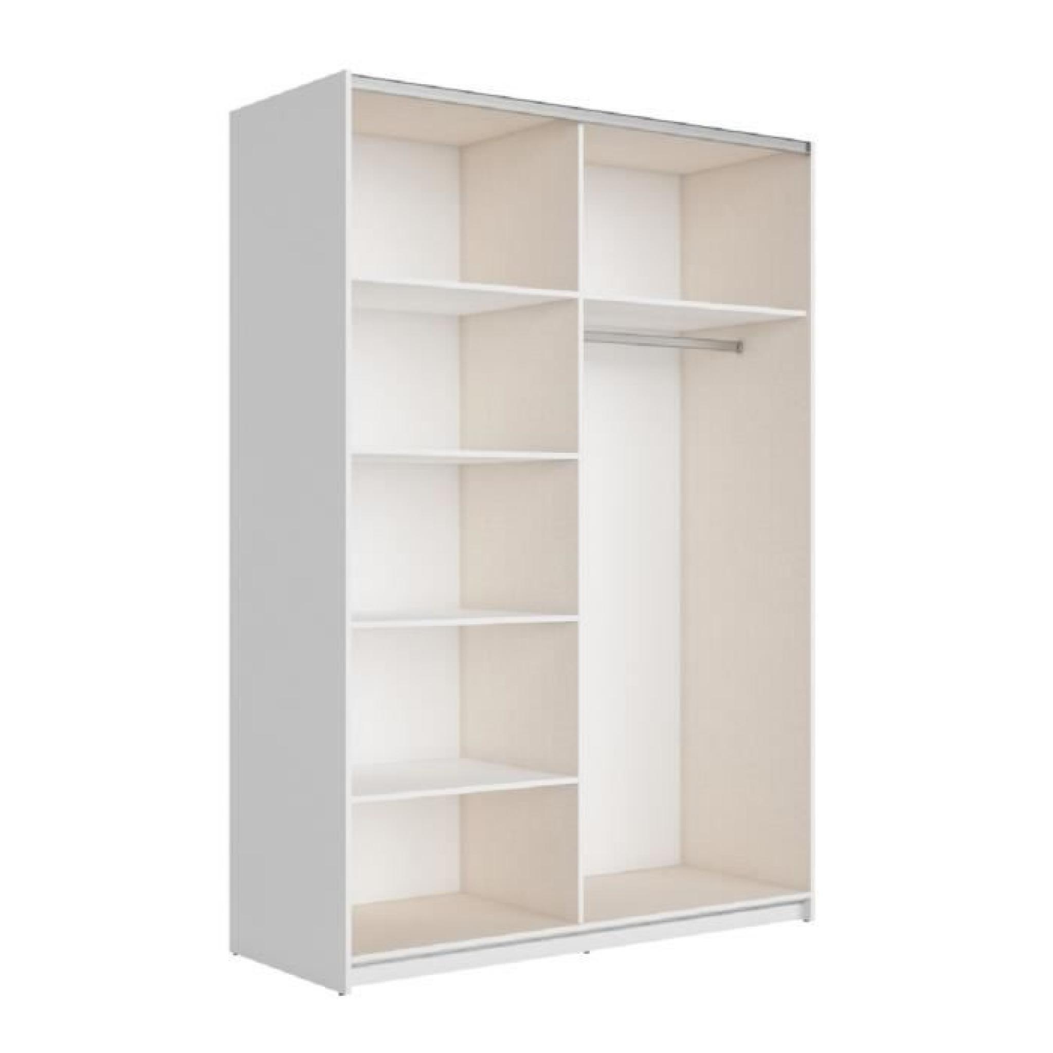 best armoire 150 cm blanc brillant achat vente armoire de chambre pas cher couleur et. Black Bedroom Furniture Sets. Home Design Ideas