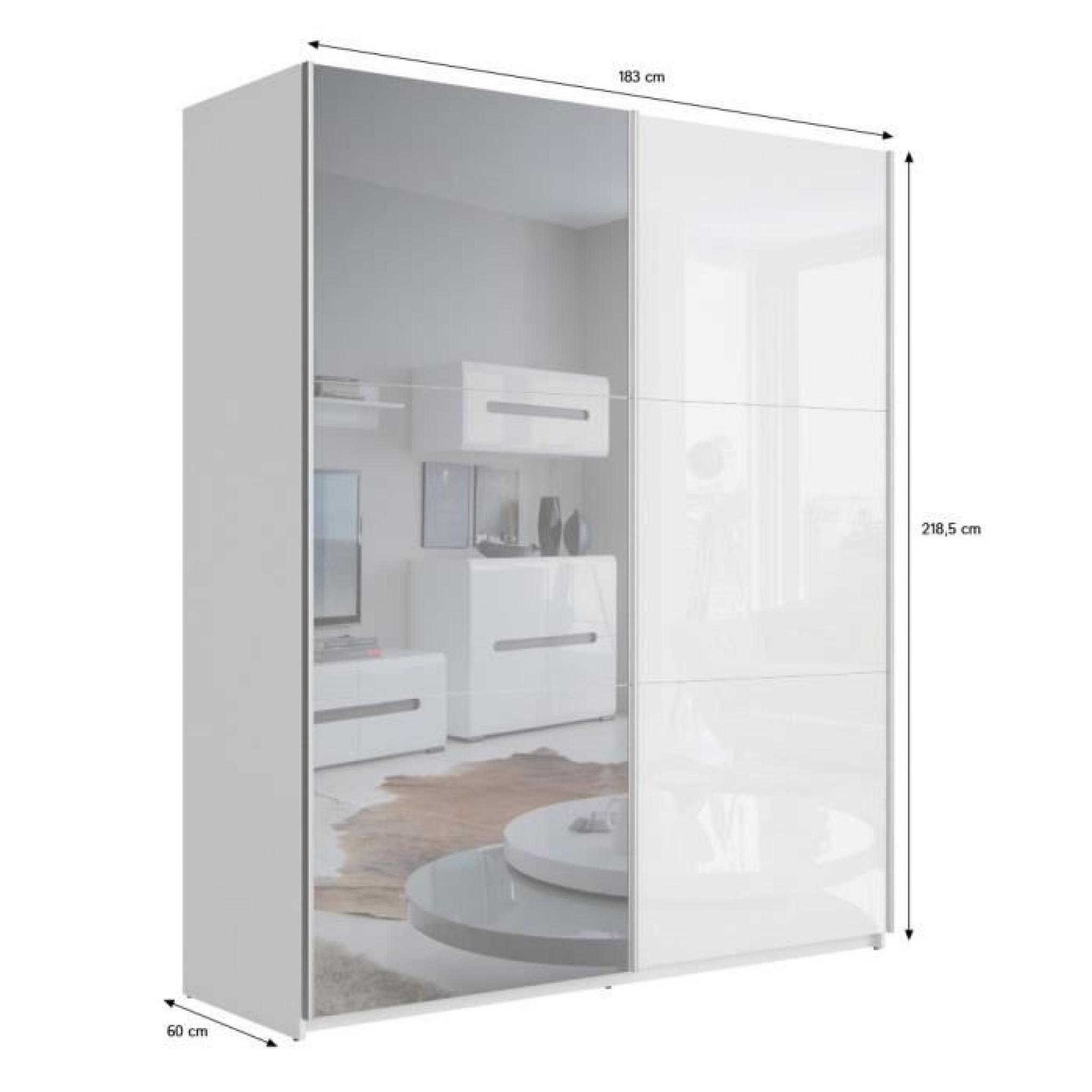 best armoire 180 cm blanc brillant miroir achat. Black Bedroom Furniture Sets. Home Design Ideas