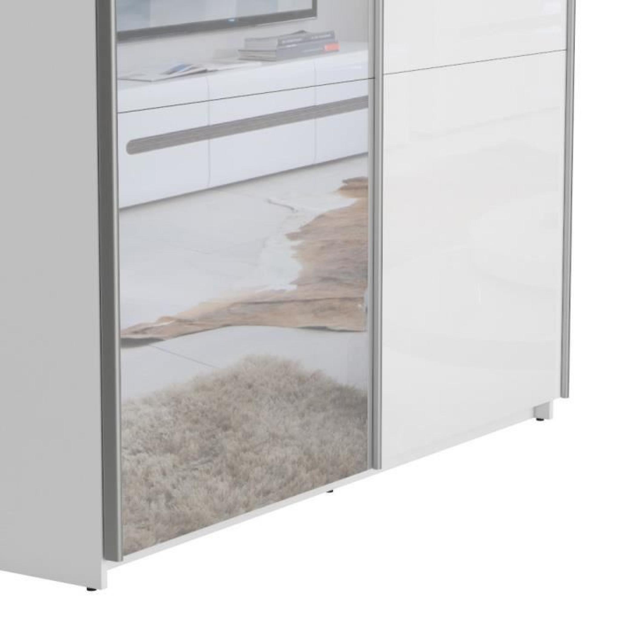 Best armoire 180 cm blanc brillant miroir achat for Miroir chambre pas cher
