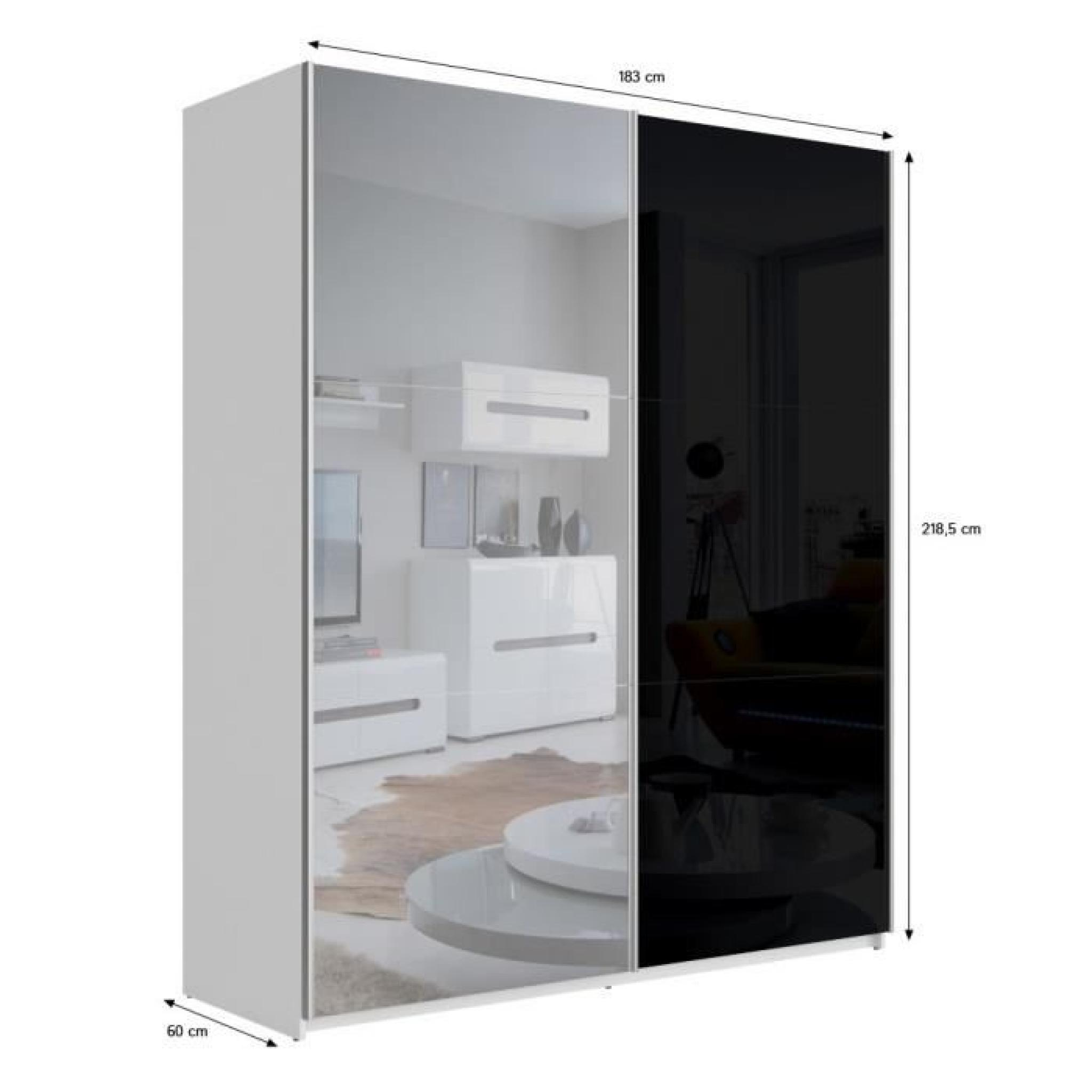 best armoire 180 cm noir brillant miroir achat vente. Black Bedroom Furniture Sets. Home Design Ideas