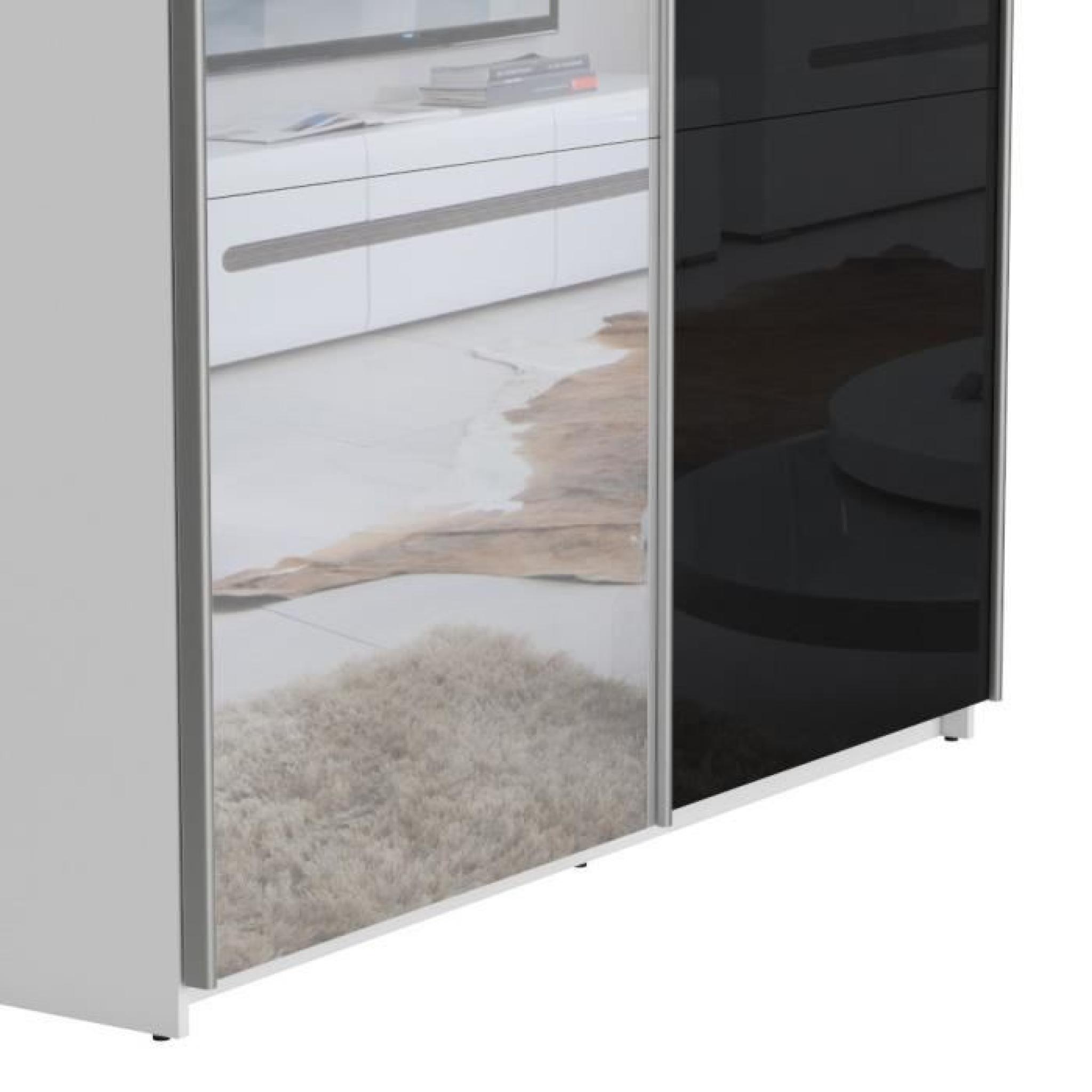 Best armoire 180 cm noir brillant miroir achat vente for Armoire chambre 180 cm