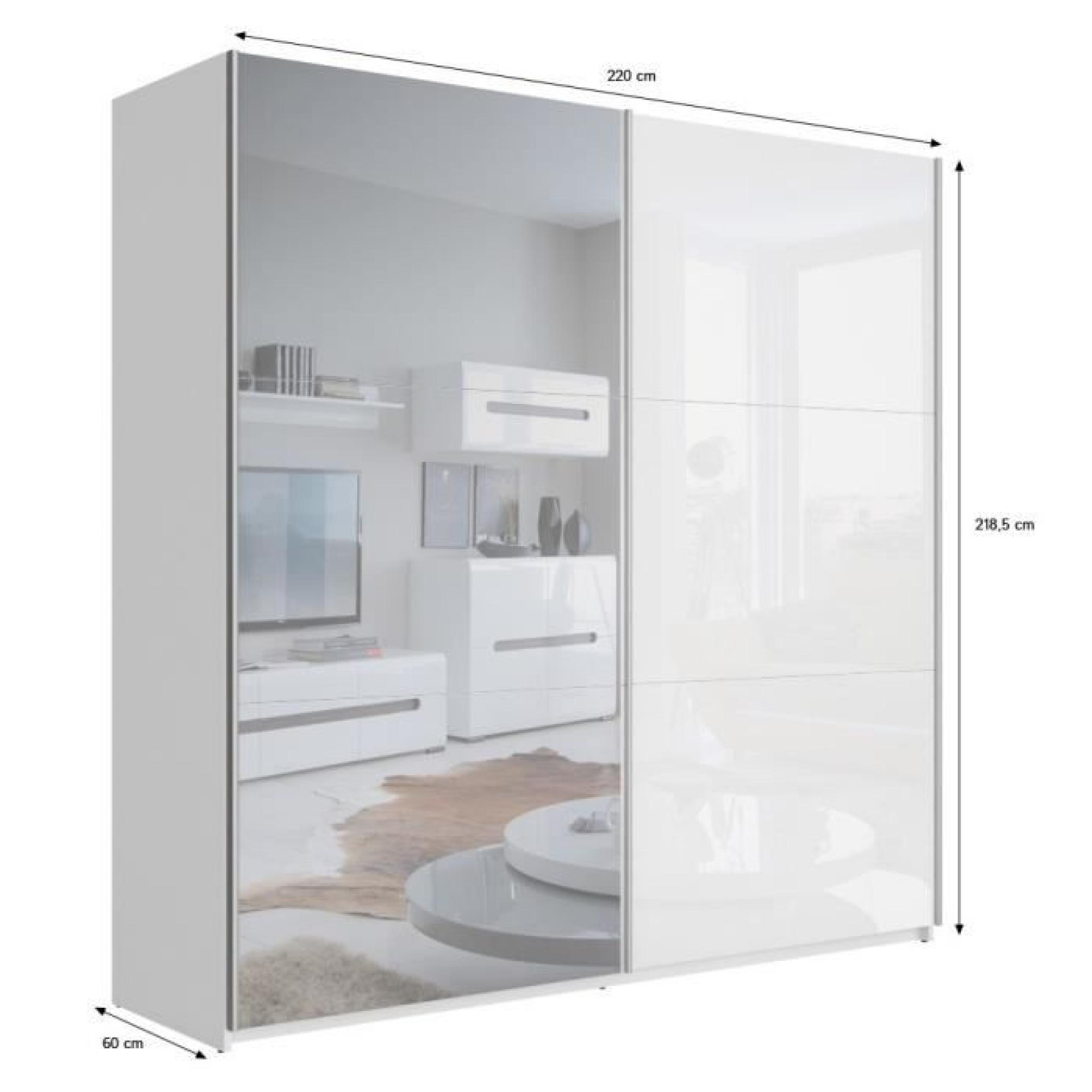 best armoire 220 cm blanc brillant et miroir achat vente. Black Bedroom Furniture Sets. Home Design Ideas