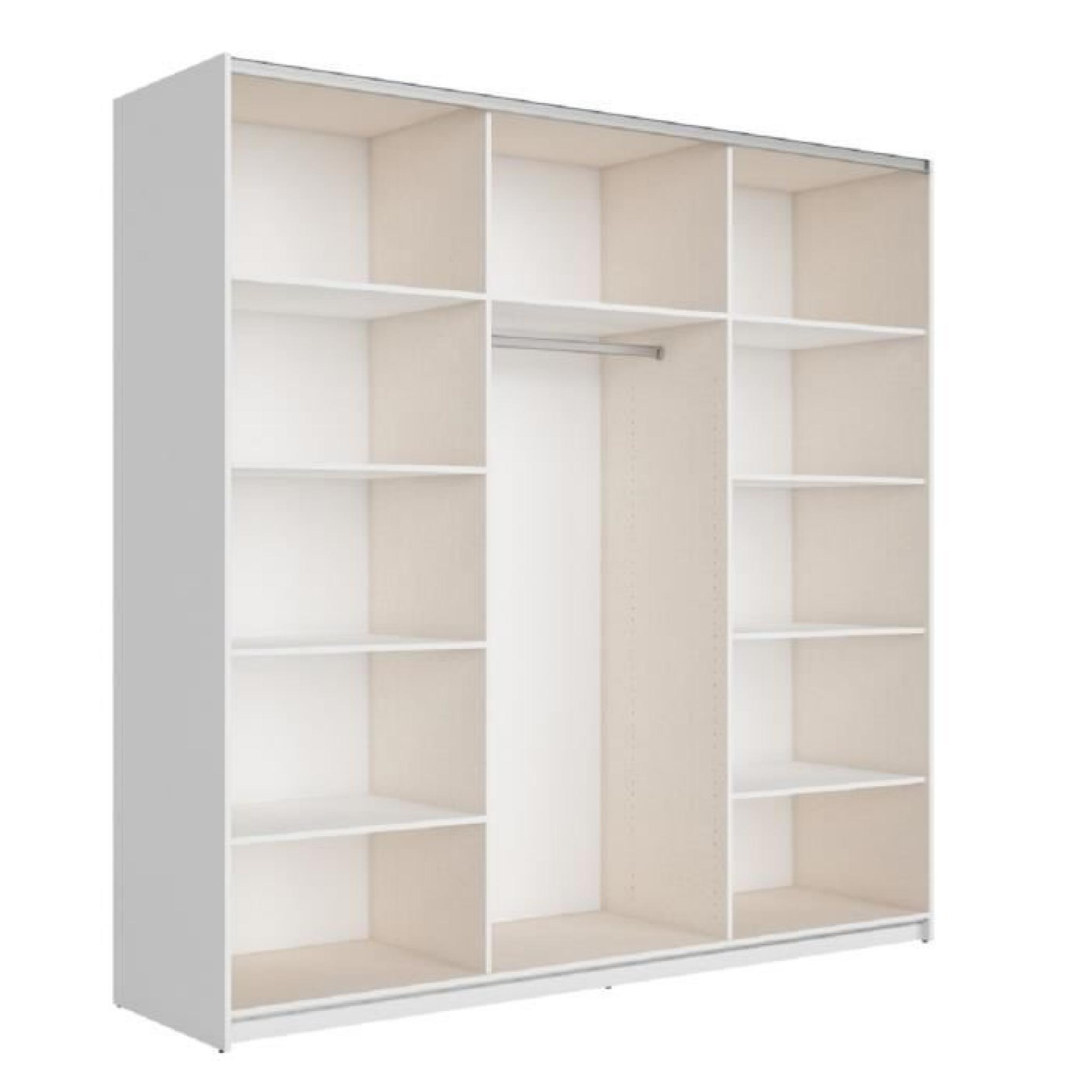 Best armoire 220 cm blanc brillant et miroir achat vente for Miroir metal pas cher