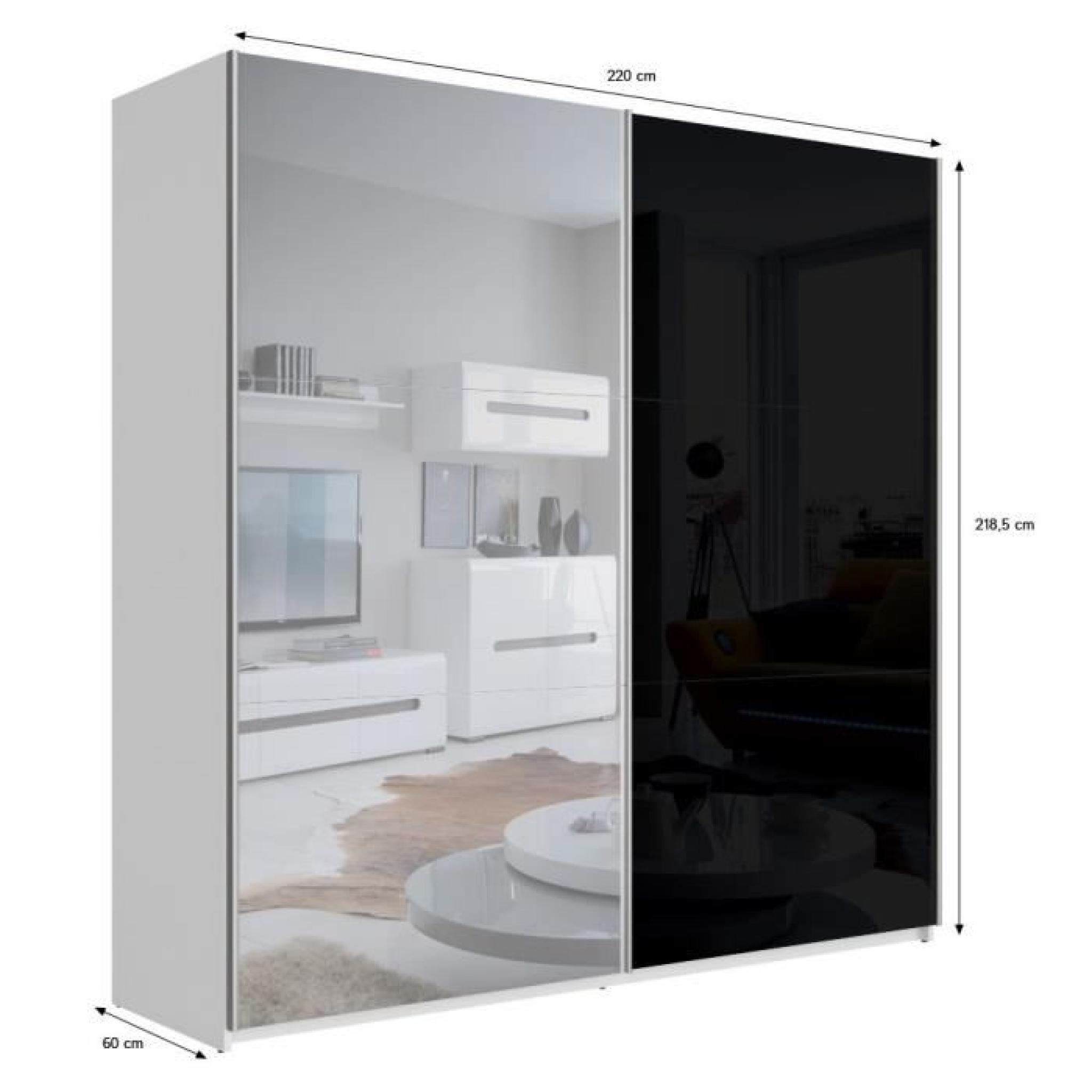 best armoire 220 cm noir brillant et miroir achat vente armoire de chambre pas cher couleur. Black Bedroom Furniture Sets. Home Design Ideas