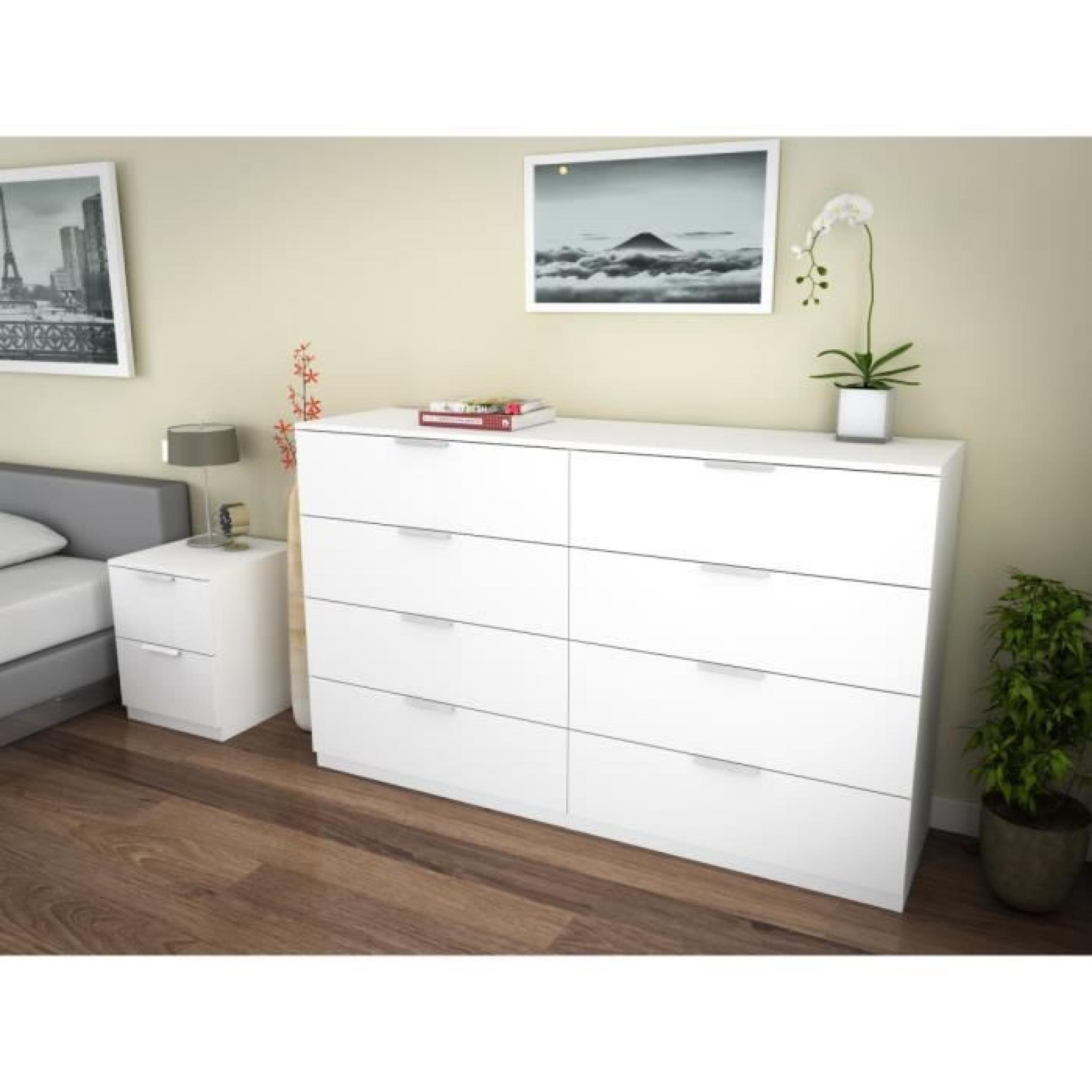 billund commode 8 tiroirs 160cm blanc achat vente commode pas cher couleur et. Black Bedroom Furniture Sets. Home Design Ideas