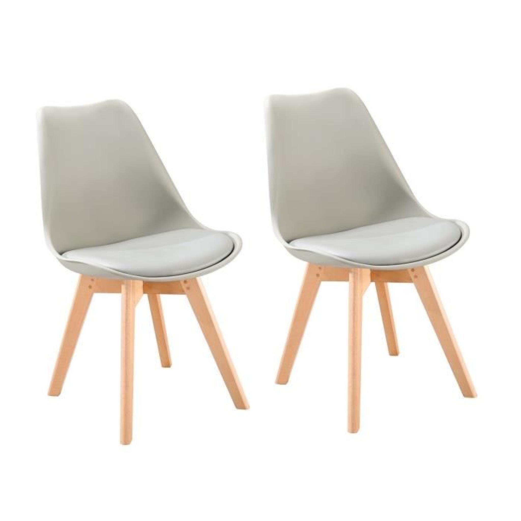 Bjorn lot de 2 chaises scandinaves de salle manger for Chaises de table a manger