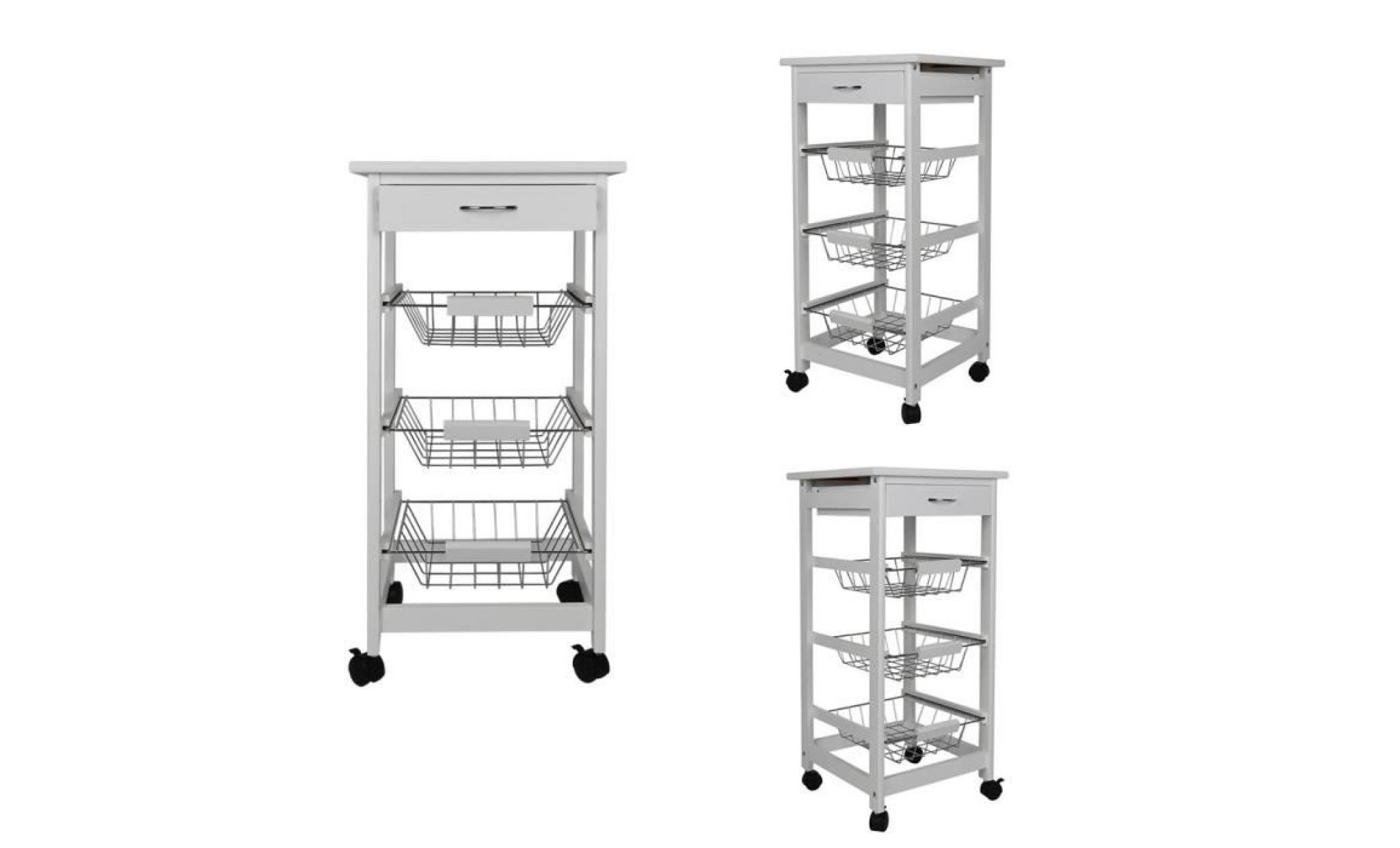 blanc 4 étages desserte cuisine à roulettes plateau planche de bois et métal