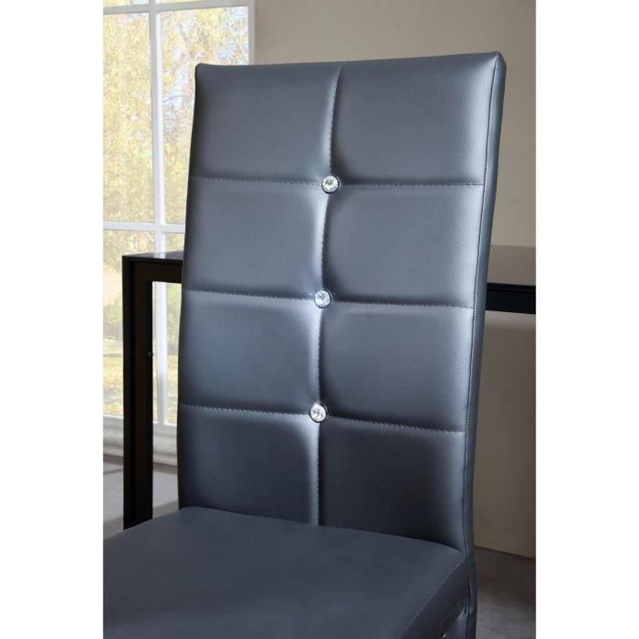 Bling lot de 2 chaises de salle manger strass noires for Lot de 8 chaise de salle a manger