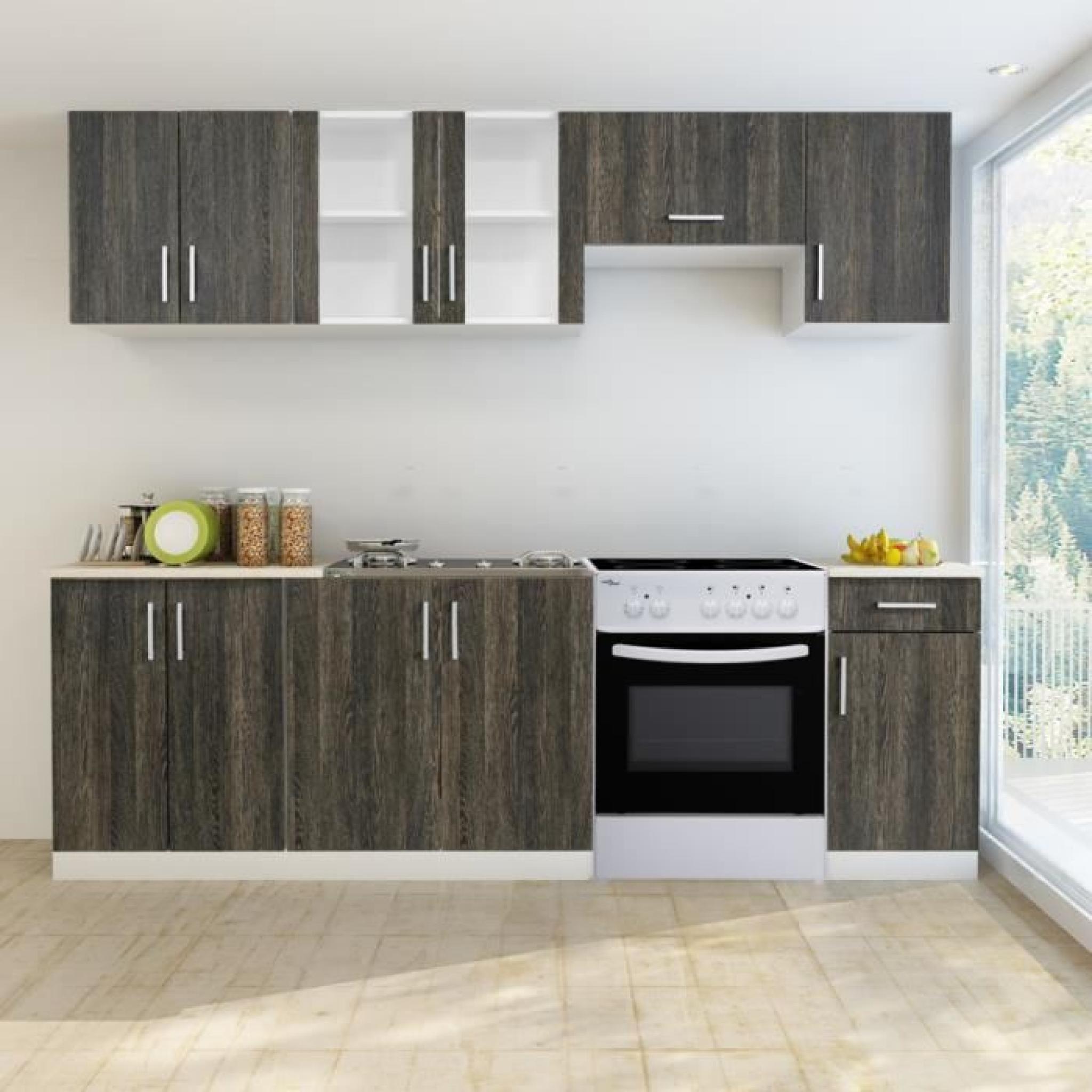 bloc armoires de cuisine en weng 7 pcs avec four autoportant achat vente cuisine complete pas. Black Bedroom Furniture Sets. Home Design Ideas