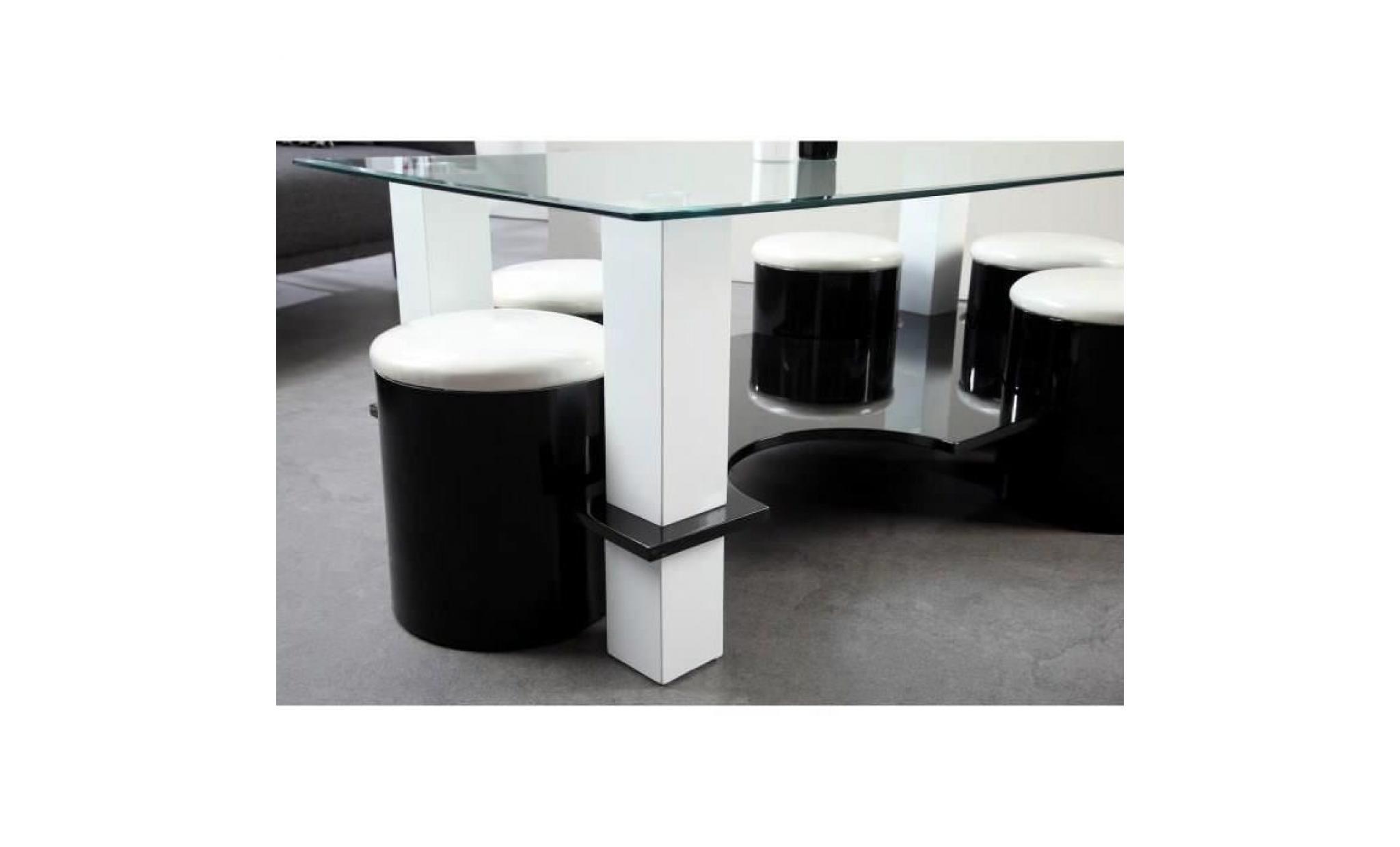 Bodega Table Basse 6 Poufs Contemporain Mdf Noir Et Blanc L 130 X P 70 Cm Noir