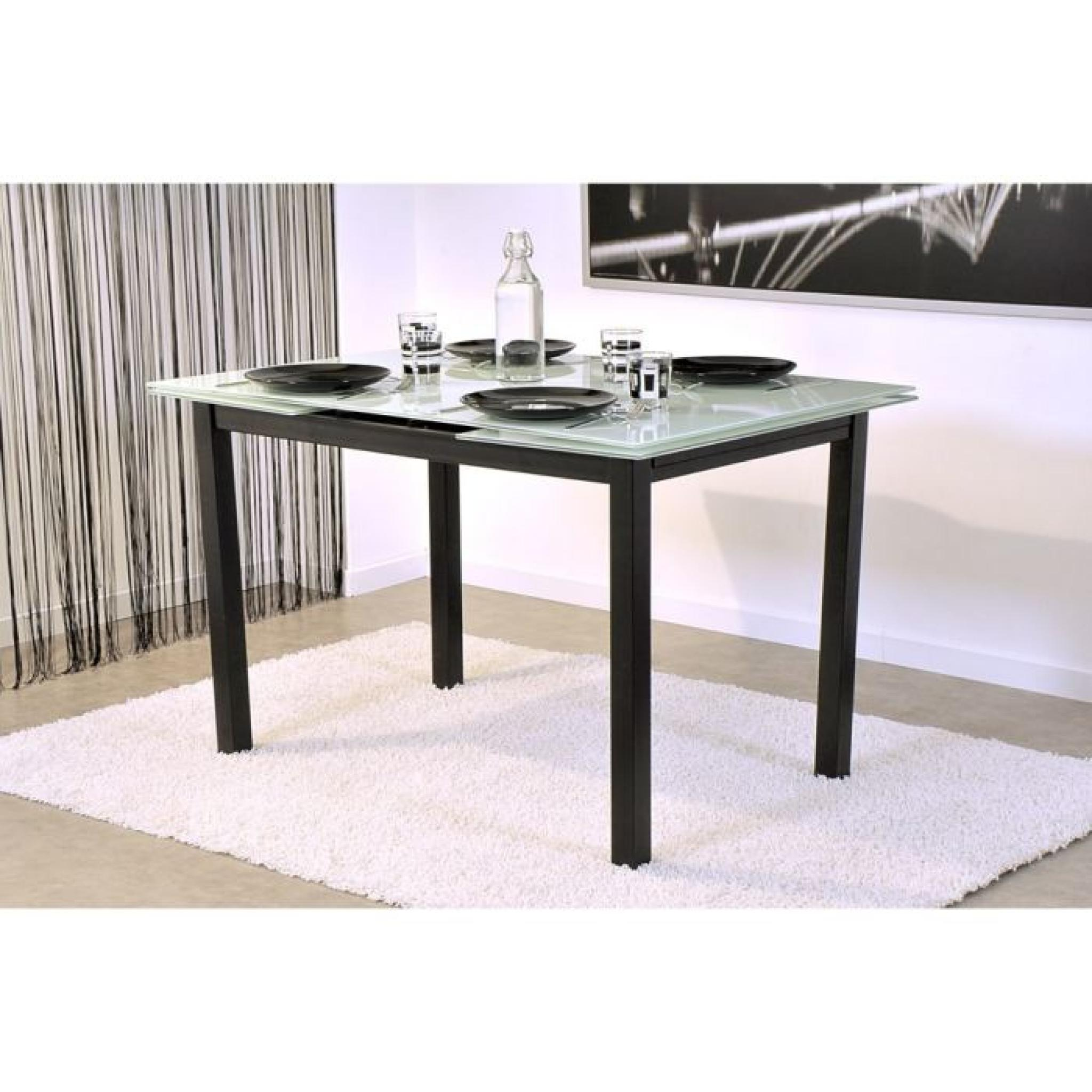bora table extensible 120 200cm blanche et noire achat vente table salle a manger pas cher. Black Bedroom Furniture Sets. Home Design Ideas
