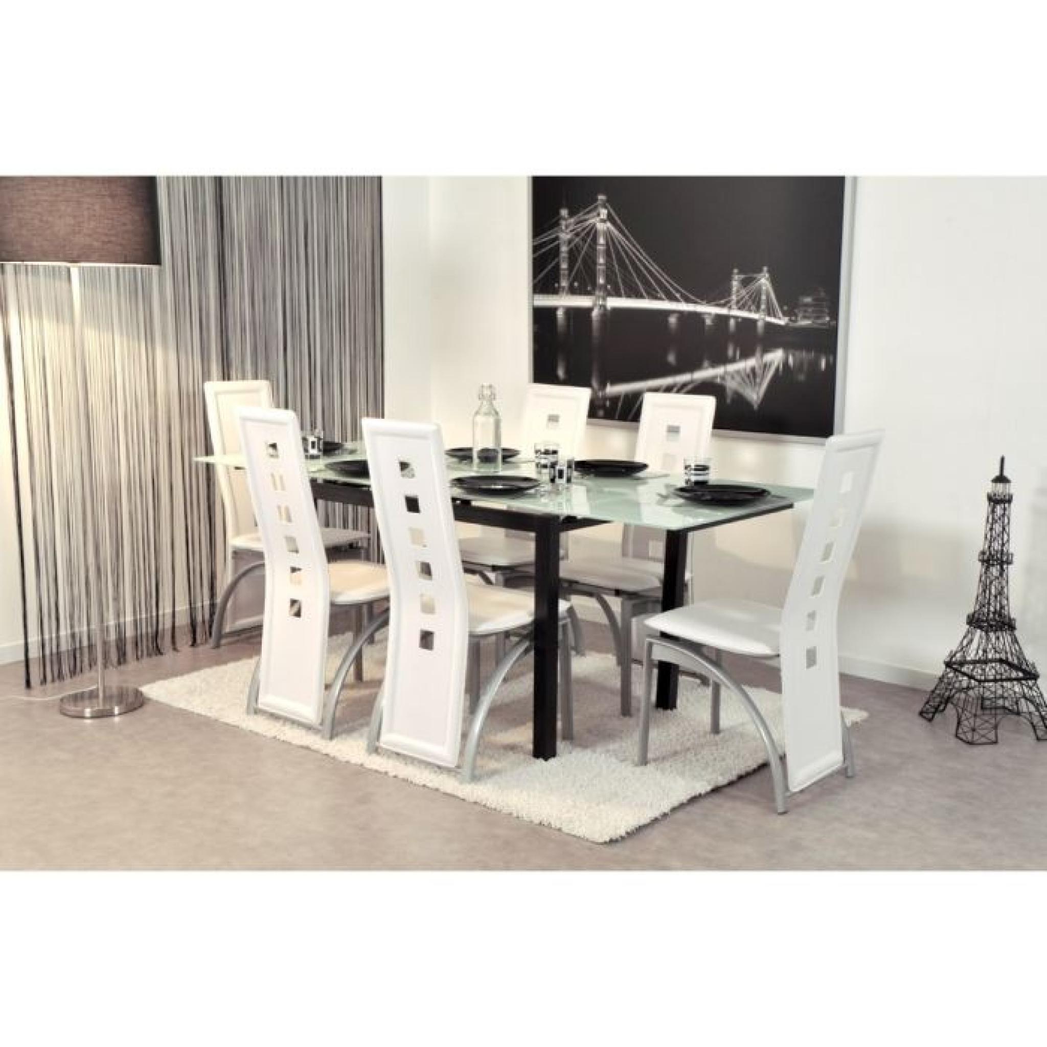#7B7050 BORA Table Extensible 120/200cm Blanche Et Noire Achat  3873 salle a manger pas cher blanche 2048x2048 px @ aertt.com
