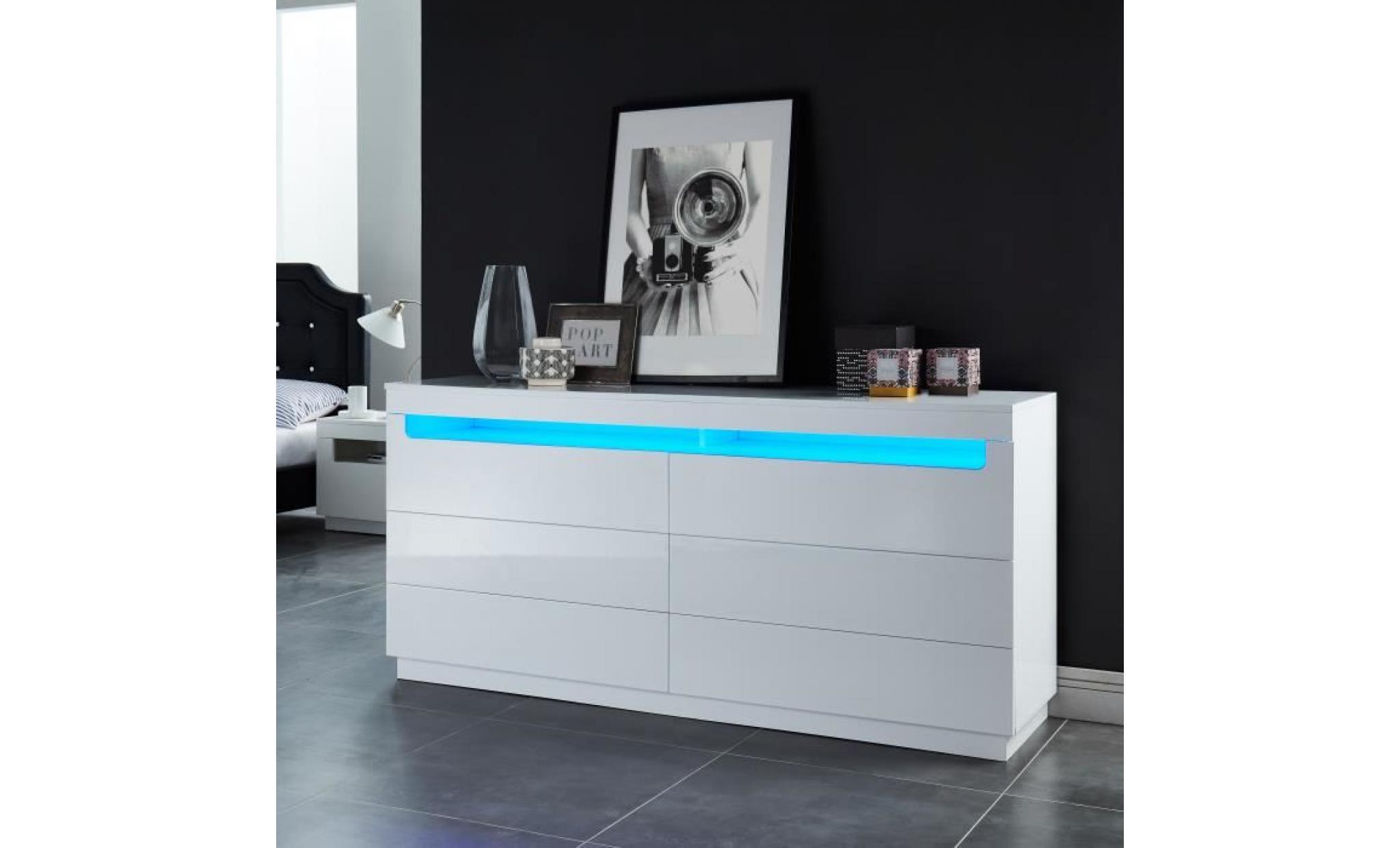 boreal commode de chambre avec led style contemporain blanc laqué ...