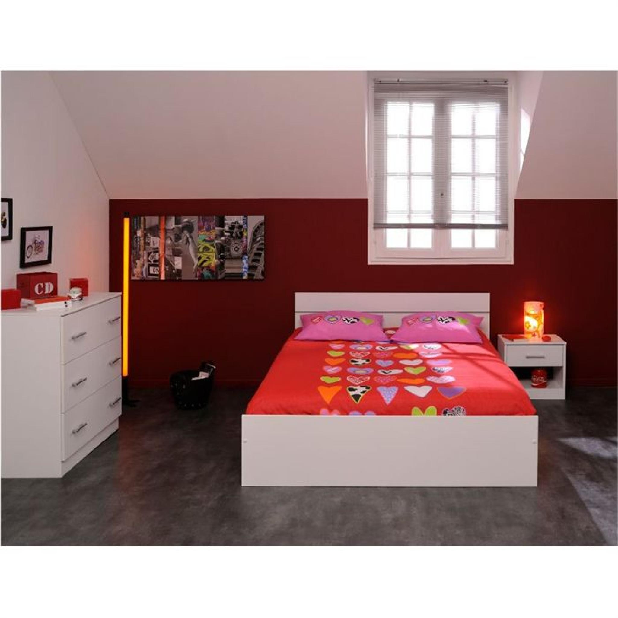 boston lit adulte 140x190 cm papier d cor blanc achat vente lit pas cher couleur et. Black Bedroom Furniture Sets. Home Design Ideas