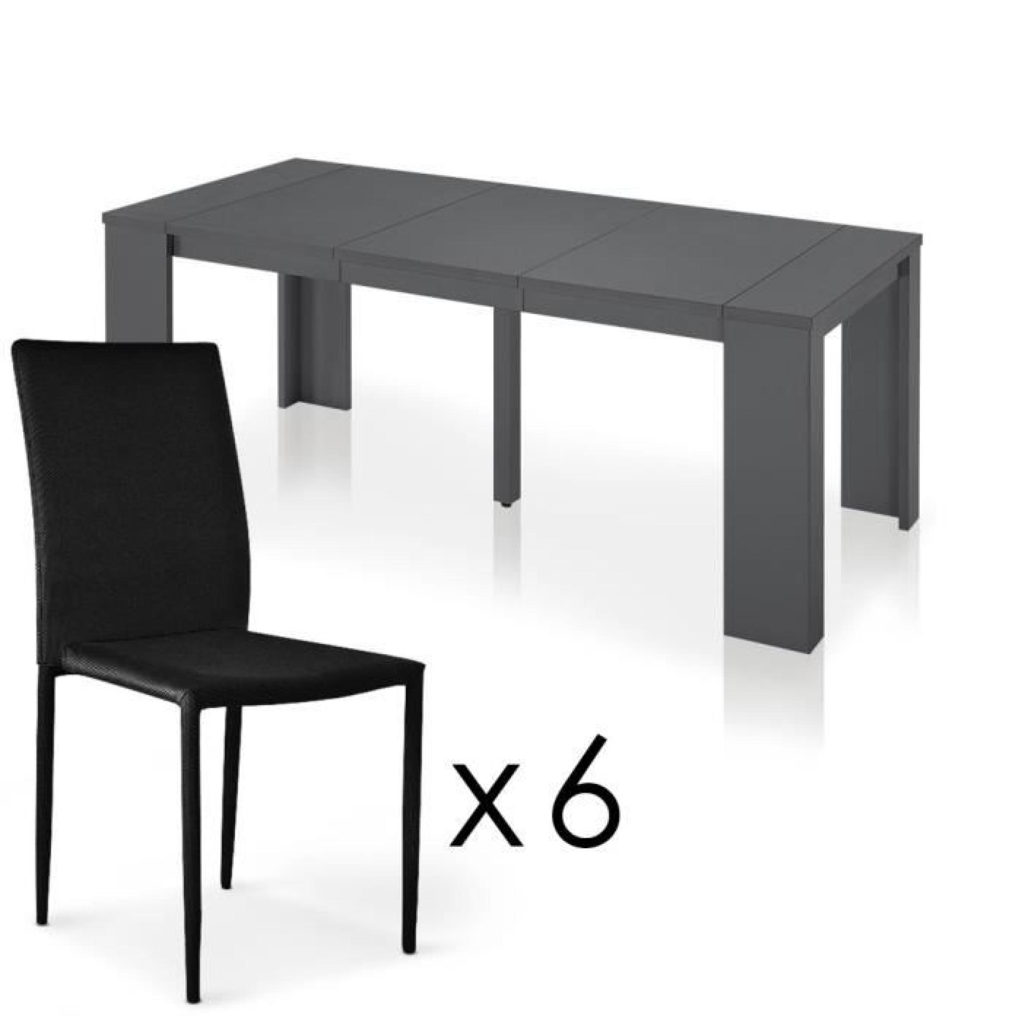 brookline gris 6 chaises empilables modan noir achat vente table salle a manger pas cher. Black Bedroom Furniture Sets. Home Design Ideas