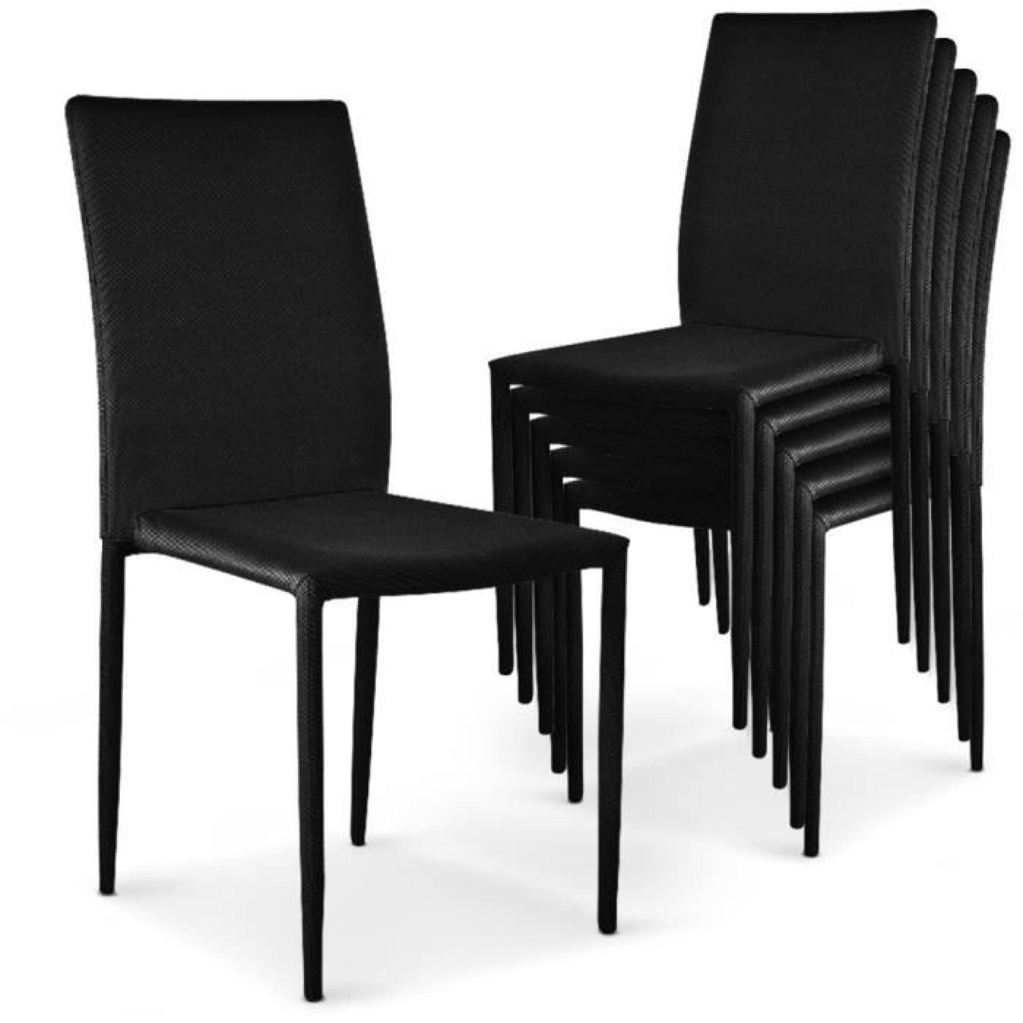 Brookline gris 6 chaises empilables modan noir achat for Table 6 chaises pas cher
