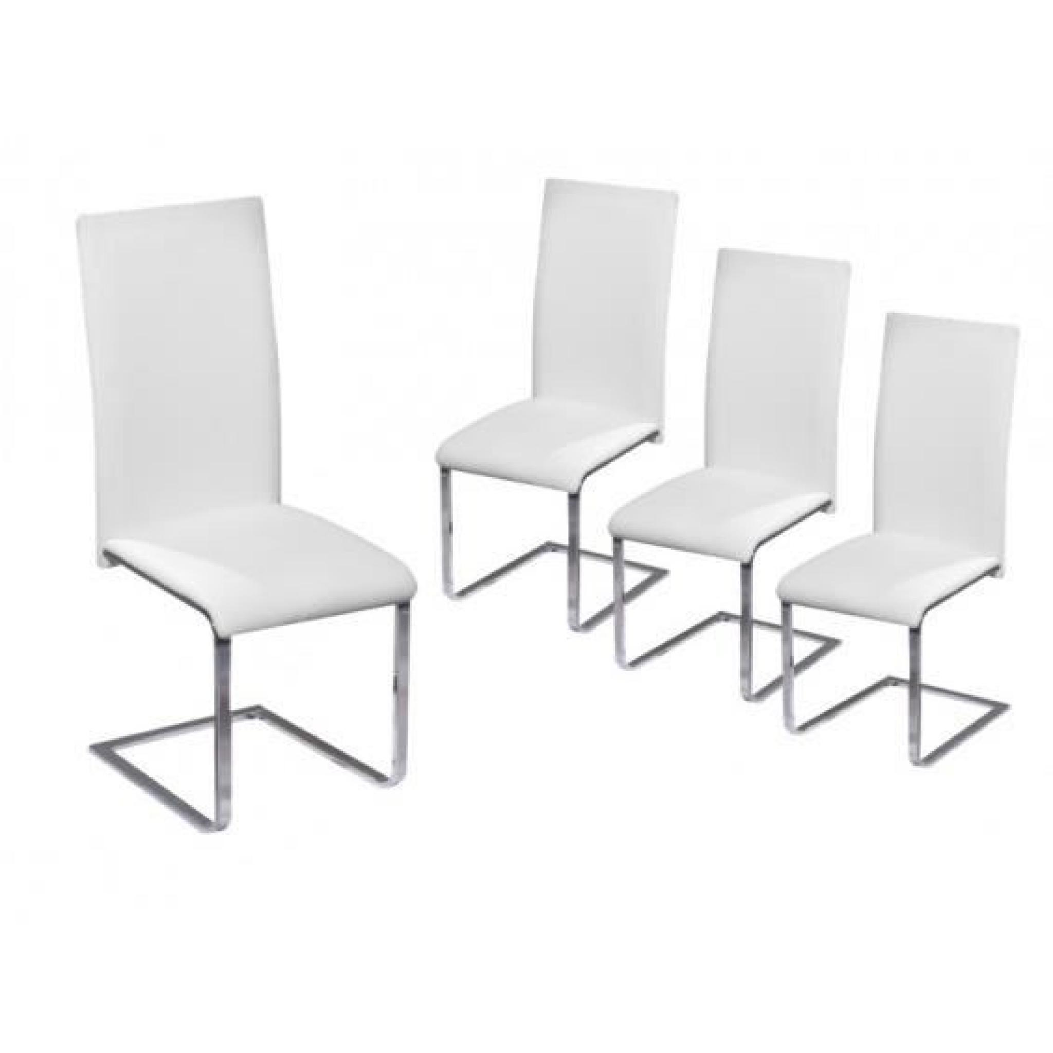 Brooklyn lot 4 chaises blanches achat vente chaise - Lot 4 chaises blanches ...