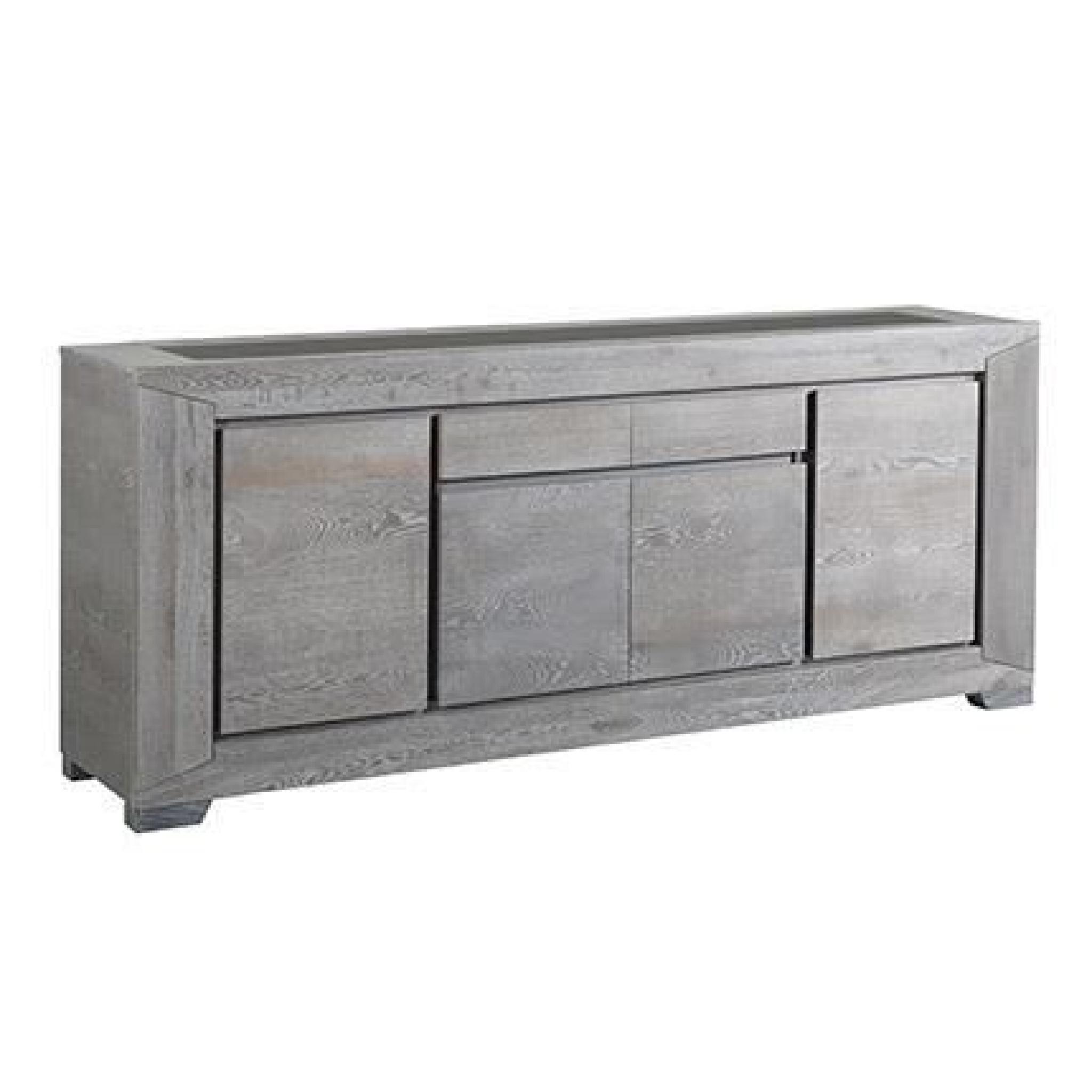 buffet 4 portes pour s jour bruges ch ne gris achat vente buffet pas cher couleur et. Black Bedroom Furniture Sets. Home Design Ideas