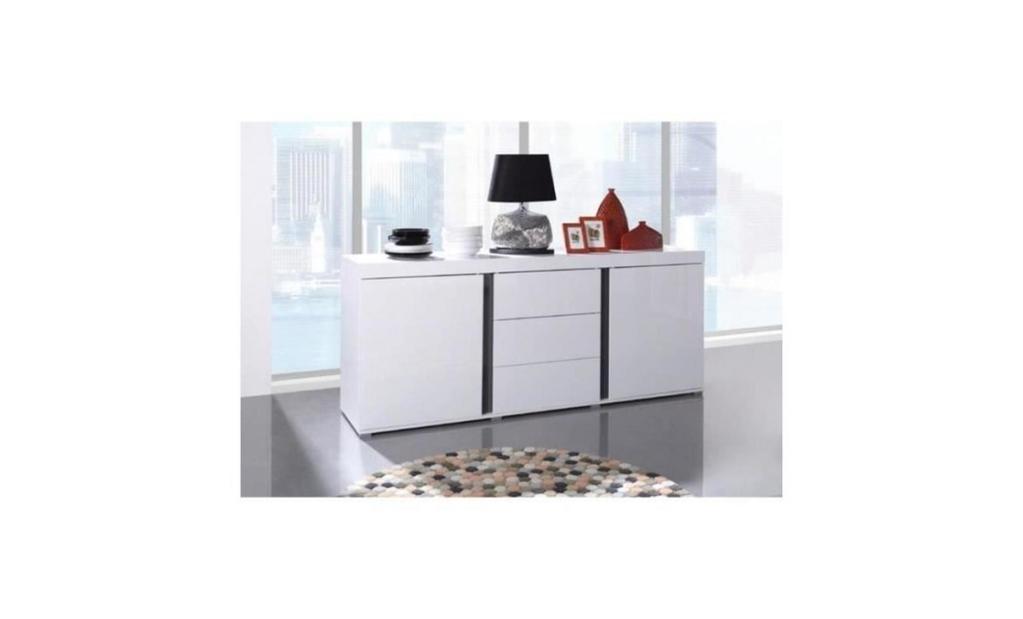 buffet avignon bahut enfilade design blanc laqu achat. Black Bedroom Furniture Sets. Home Design Ideas
