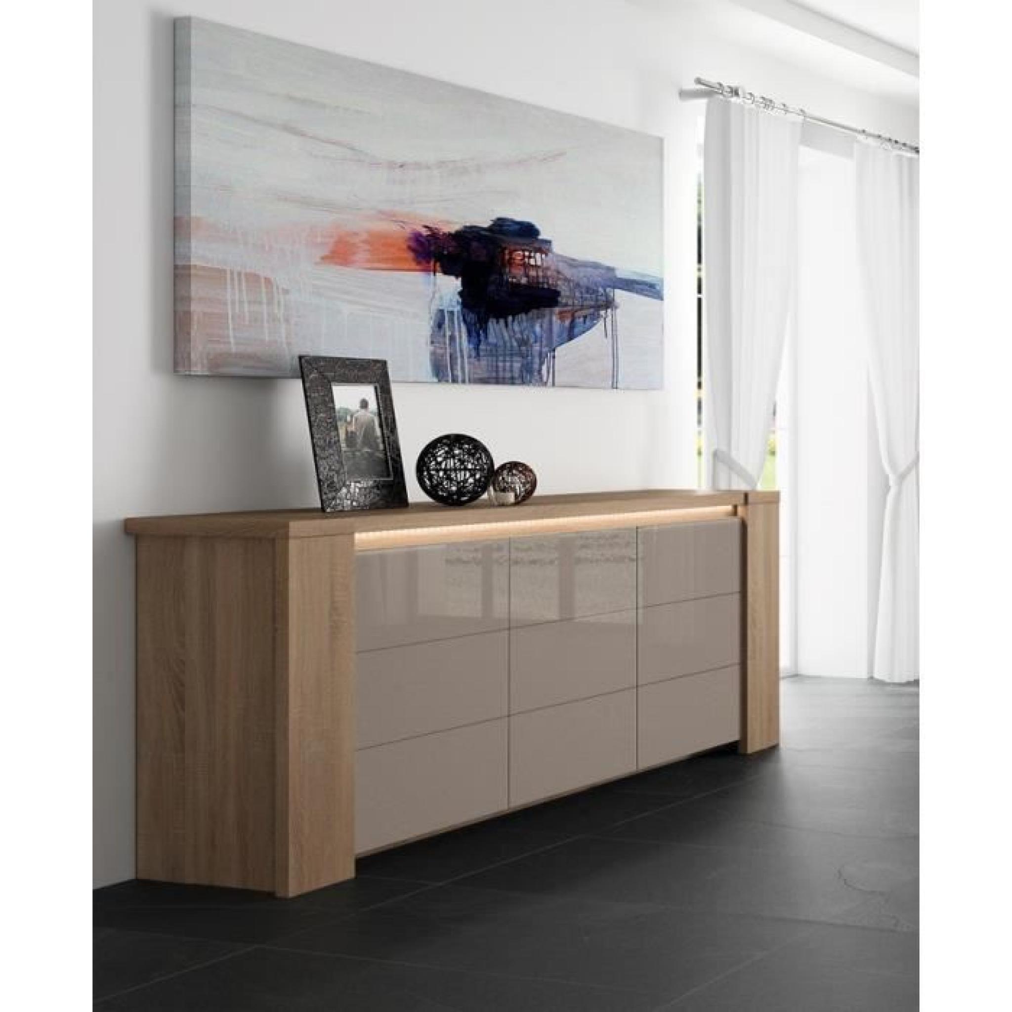 buffet bahut couleur ch ne clair et verre taupe gris. Black Bedroom Furniture Sets. Home Design Ideas