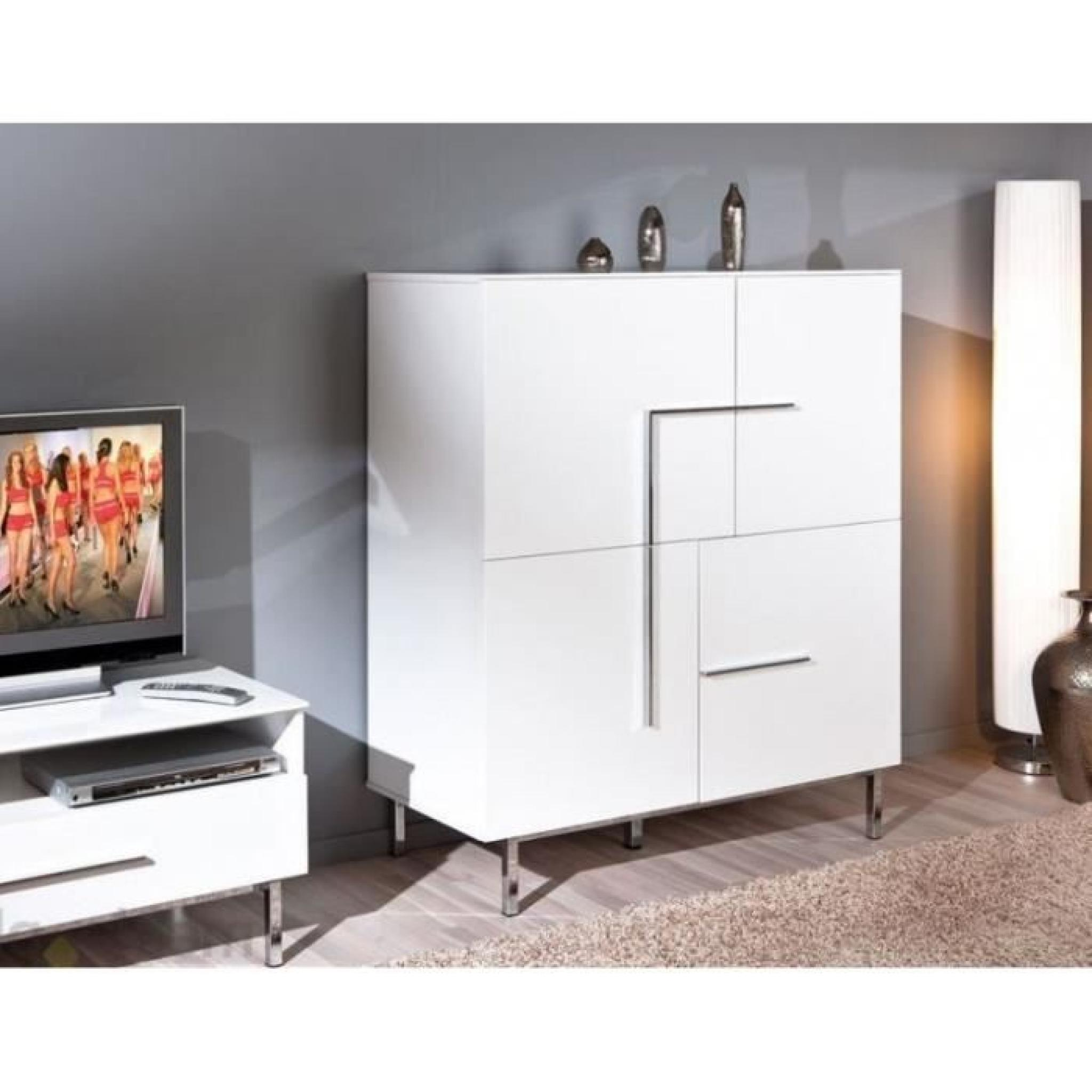 buffet bas design deltino blanc 4 portes et pi achat. Black Bedroom Furniture Sets. Home Design Ideas