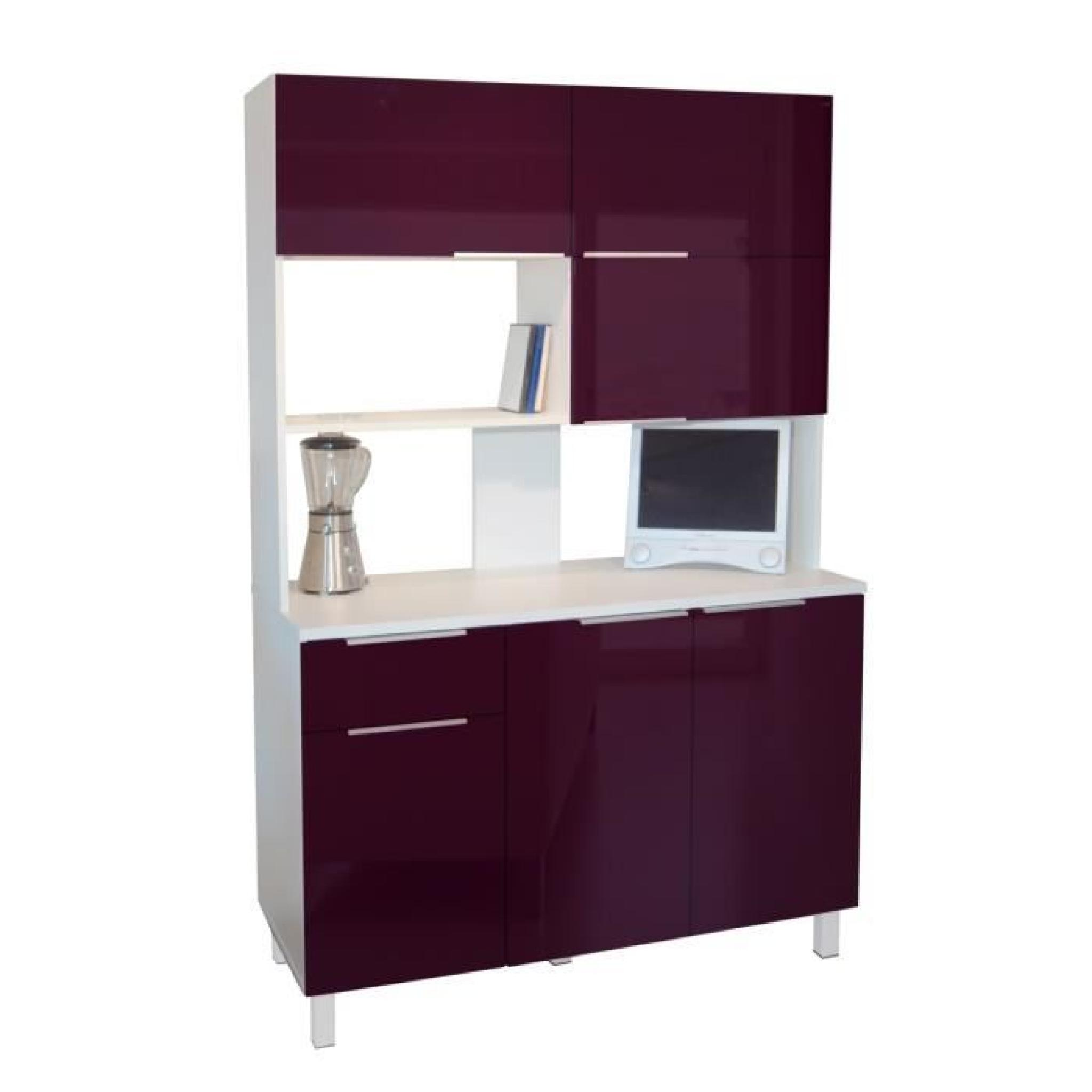 lova buffet de cuisine 120 cm aubergine haute brillance. Black Bedroom Furniture Sets. Home Design Ideas