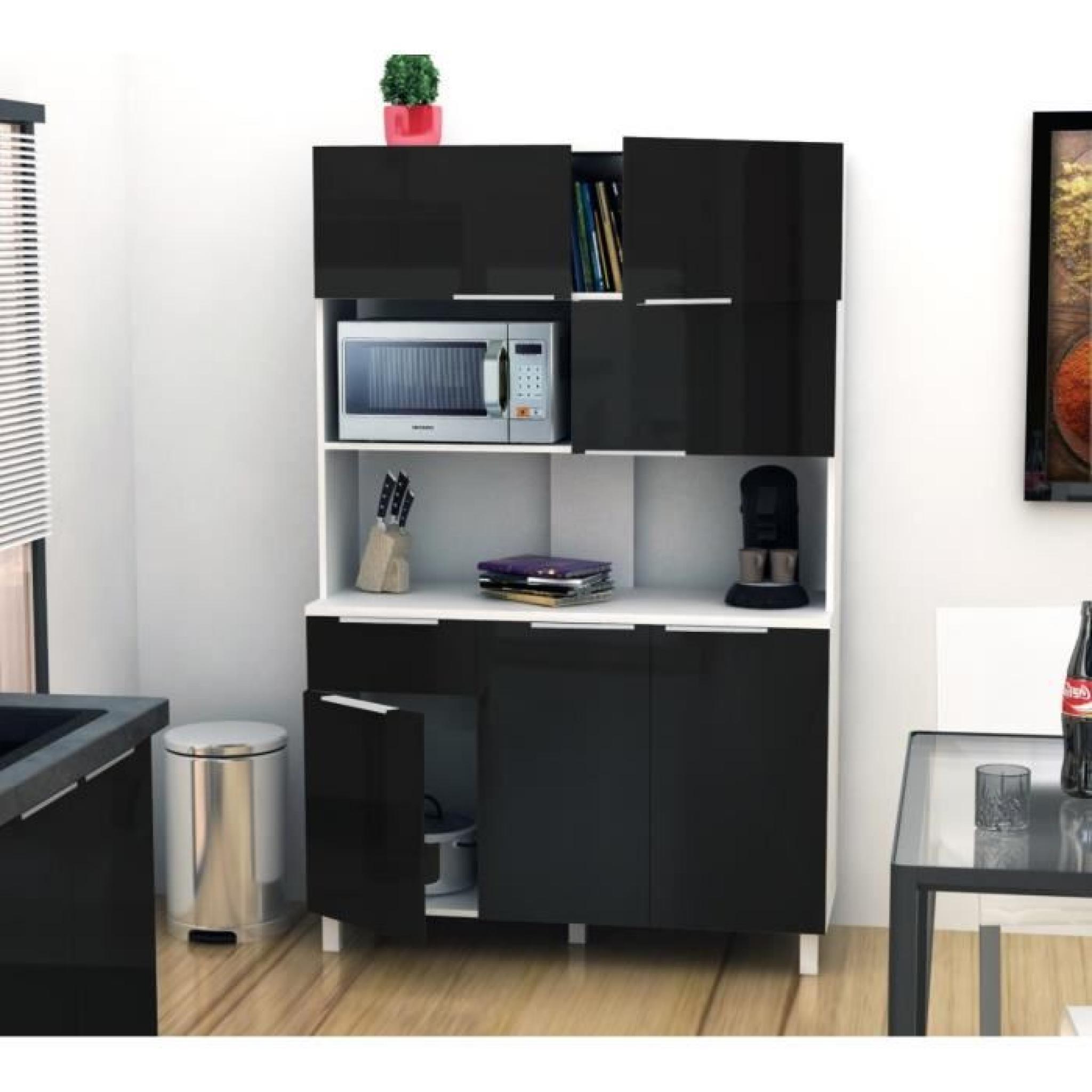 LOVA Buffet de cuisine 120 cm - Noir Haute Brillance - Achat/Vente ...